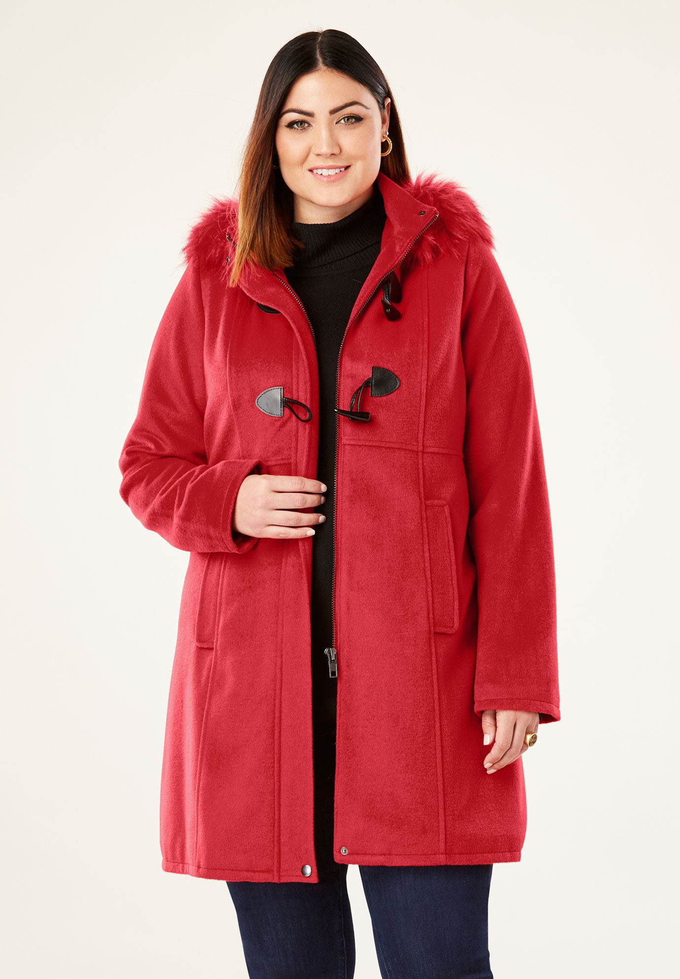 Faux Fur Toggle Coat,