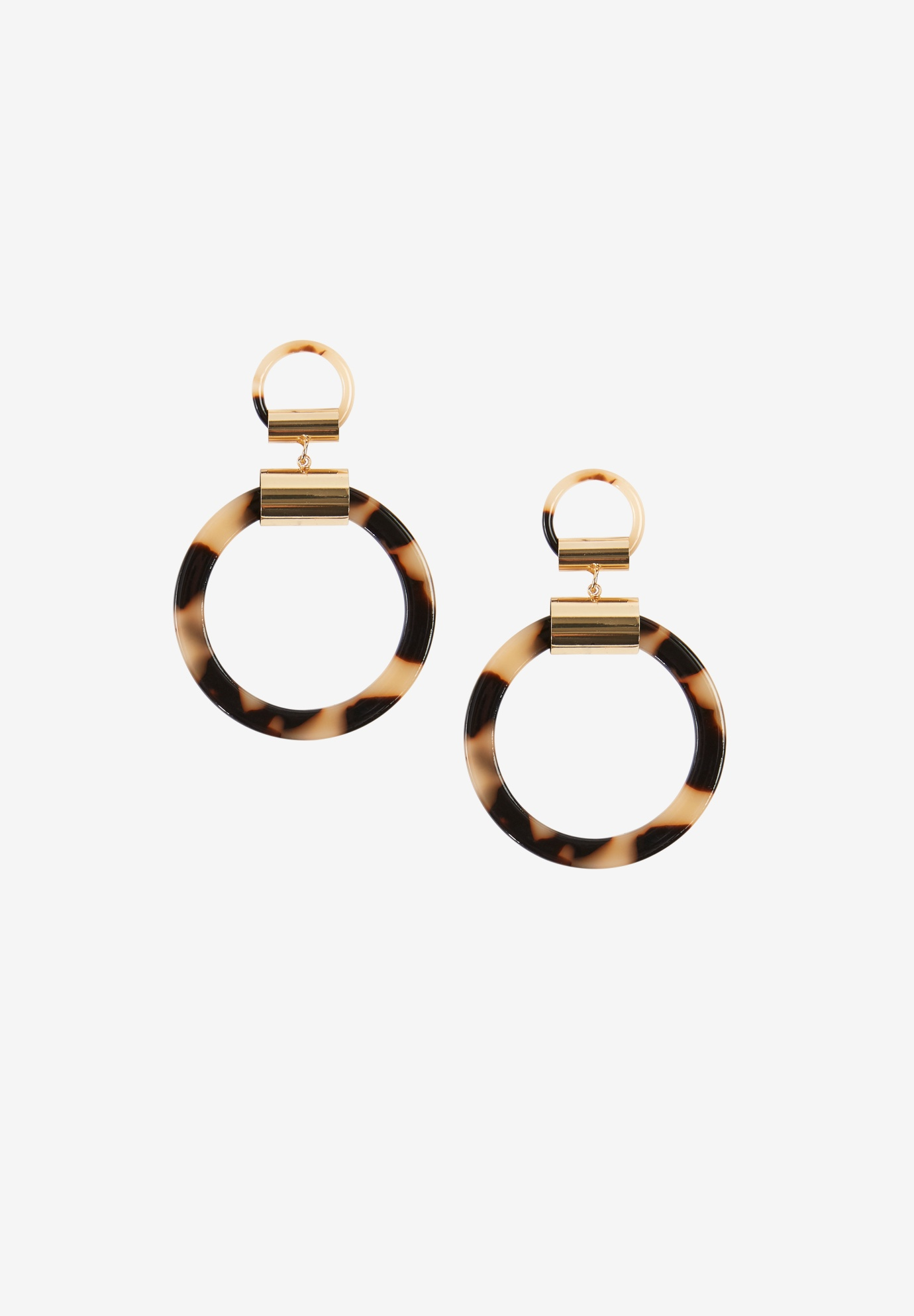 Tortoiseshell Hoop Earrings, GOLD