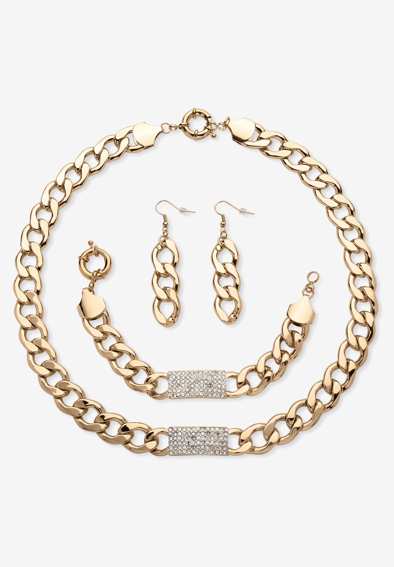Crystal & Gold Link Necklace, Bracelet & Earring Set, GOLD