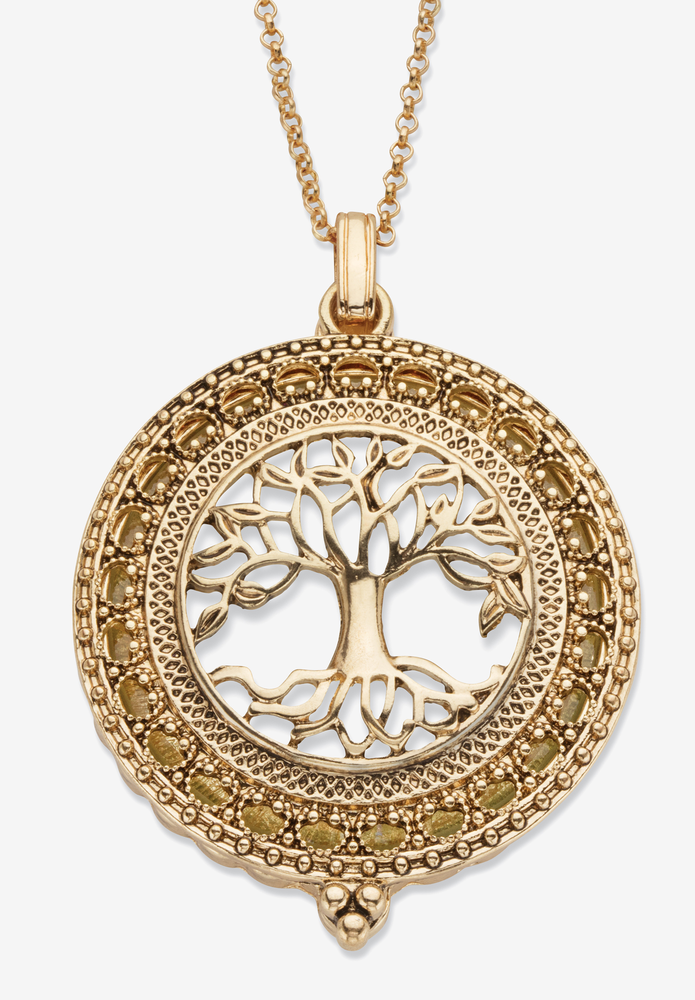 Tree of Life Pendant Necklace, 47mm, GOLD