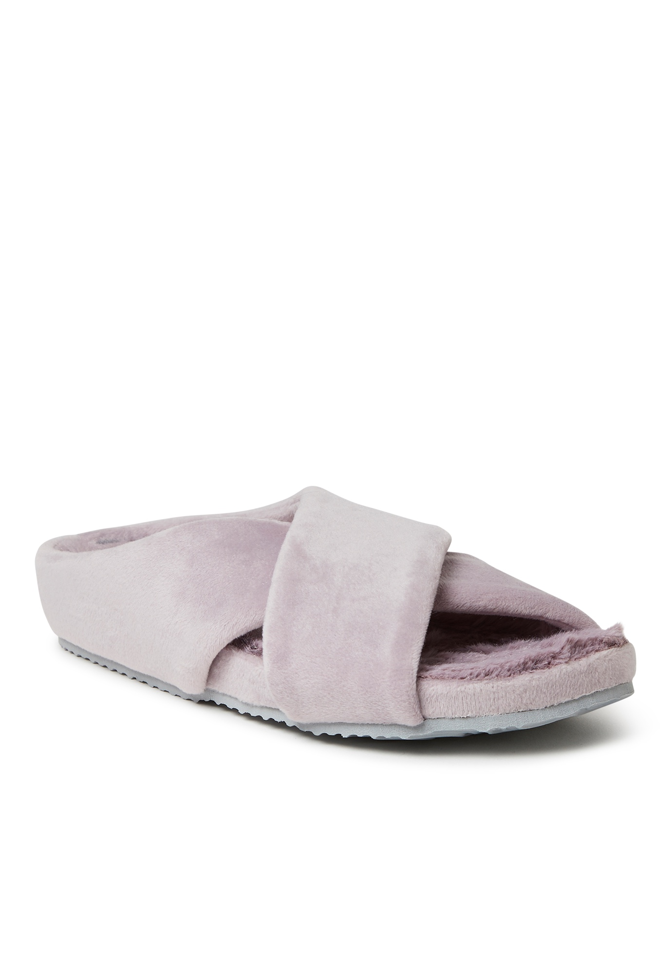 Maeve Velour Crisscross Molded Footbed Slide by Dearfoams,
