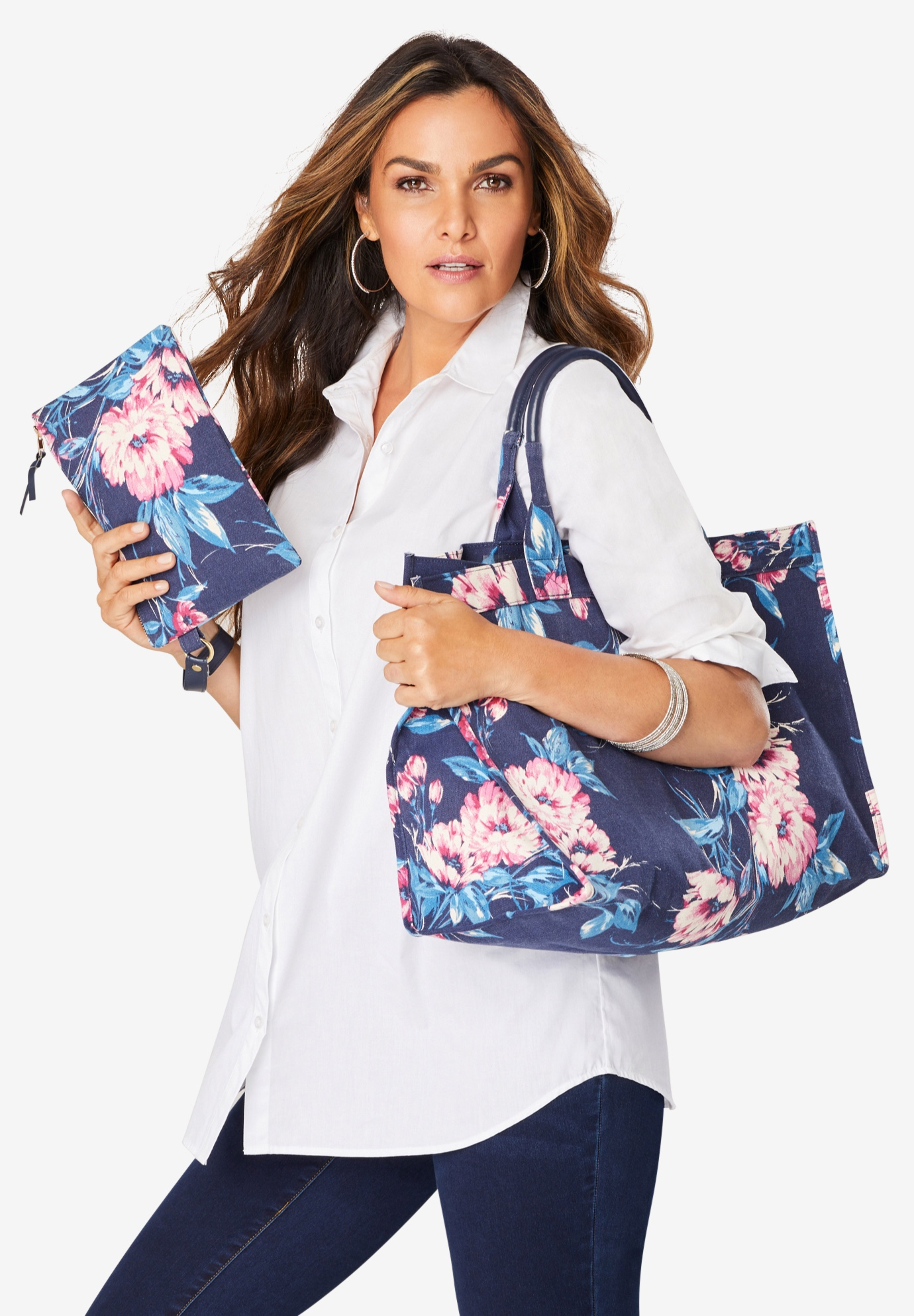 2-Piece Tote Set, NAVY VINTAGE BOUQUET