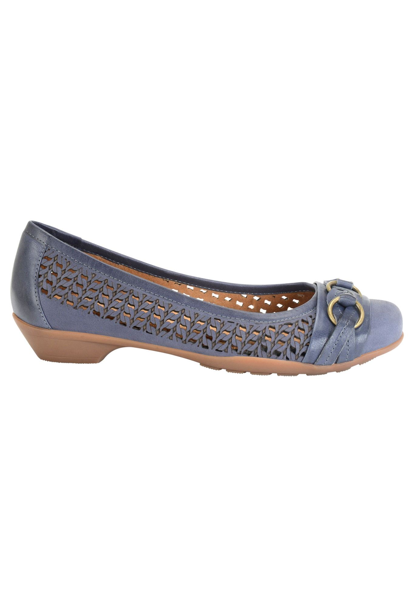 Posie Leather Flat by Softspots®, NAVY, hi-res