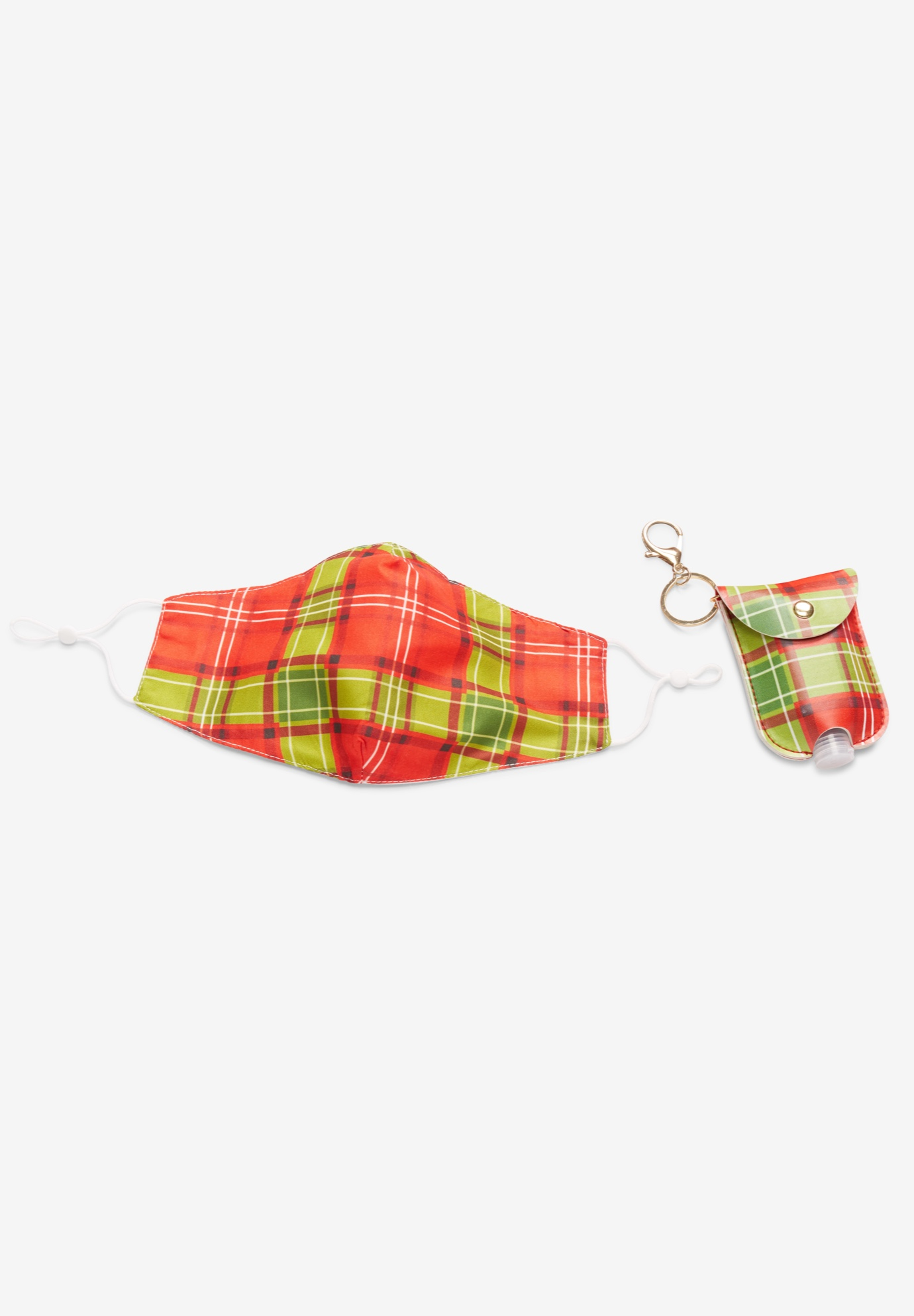 Two-Layer Reusable Cotton Face Mask and Sanitizer Set, RED PLAID