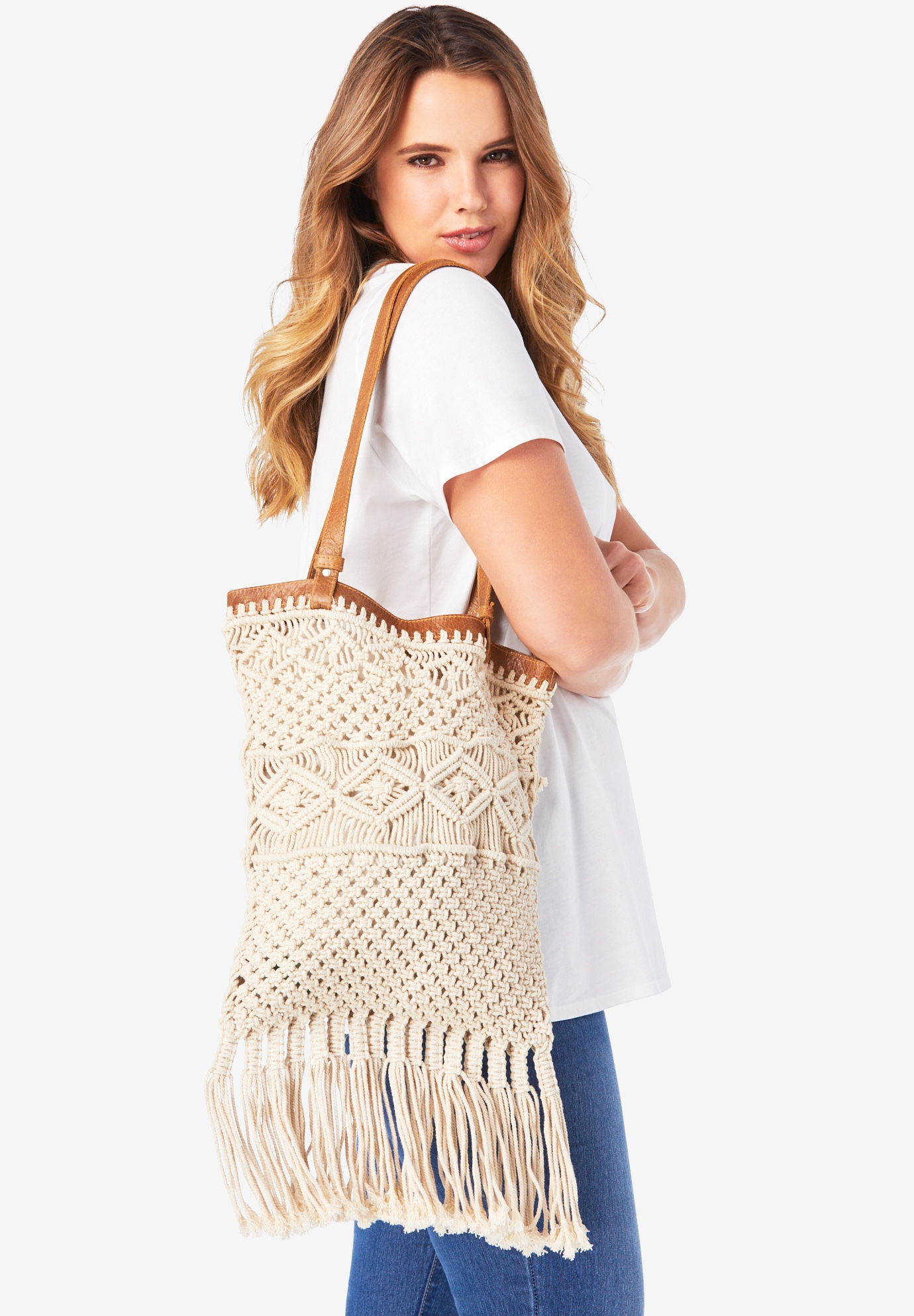 Crochet Overlay Tote, LIGHT BEIGE