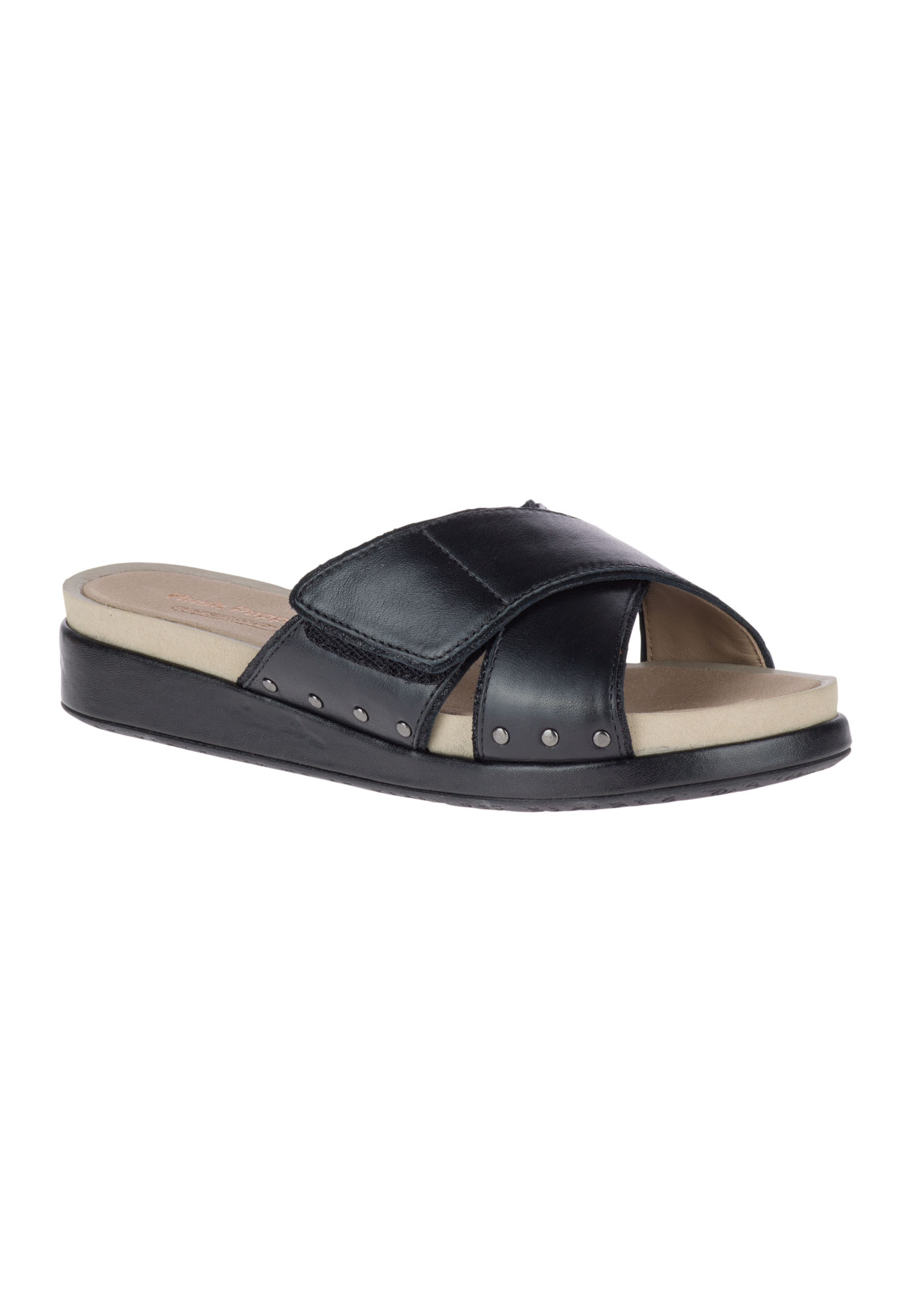 Chrysta Xband Slide Sandals by Hush Puppies®, BLACK LEATHER, hi-res