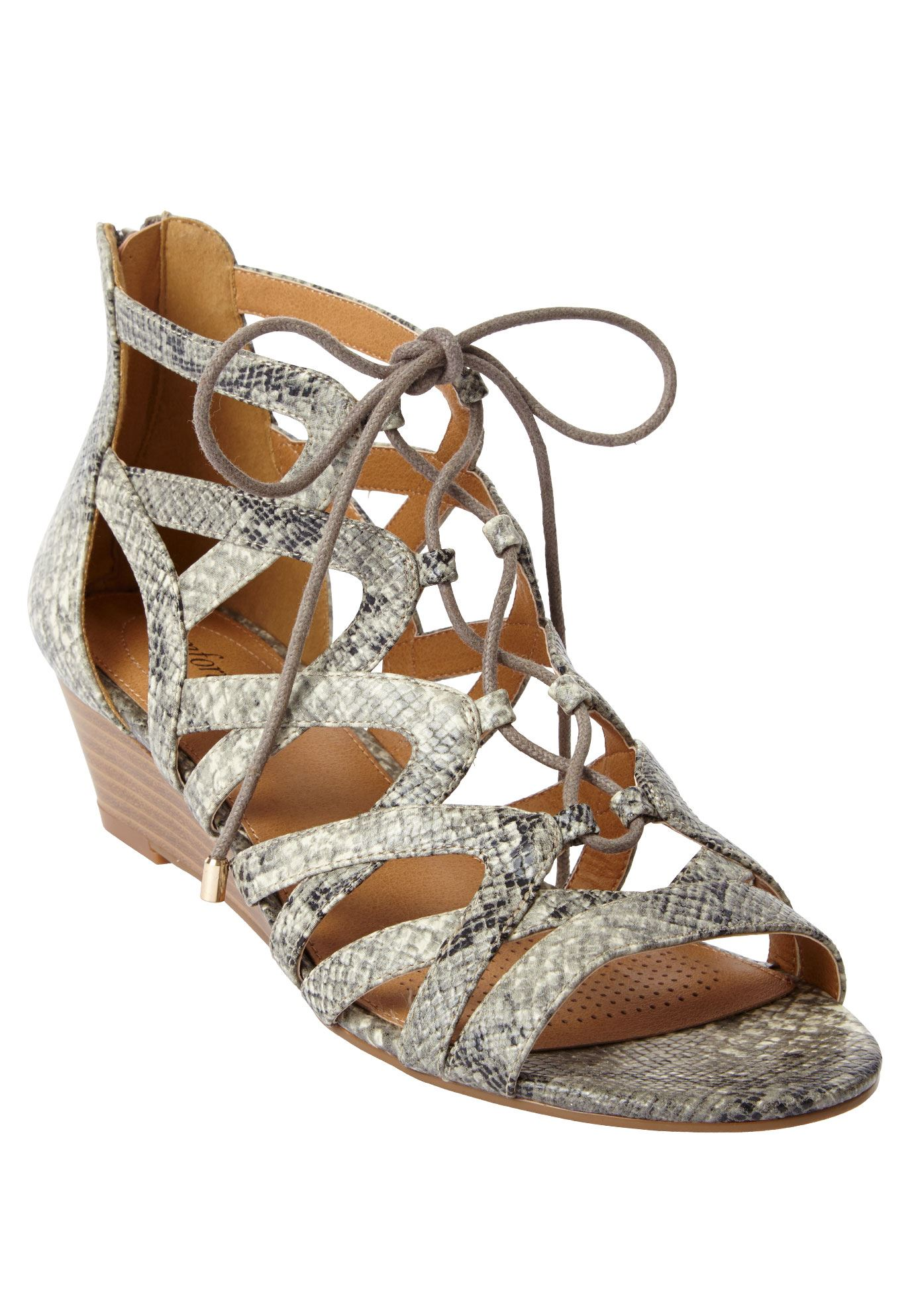 Frieda Sandals by Comfortview®, GREY MULTI SNAKE, hi-res