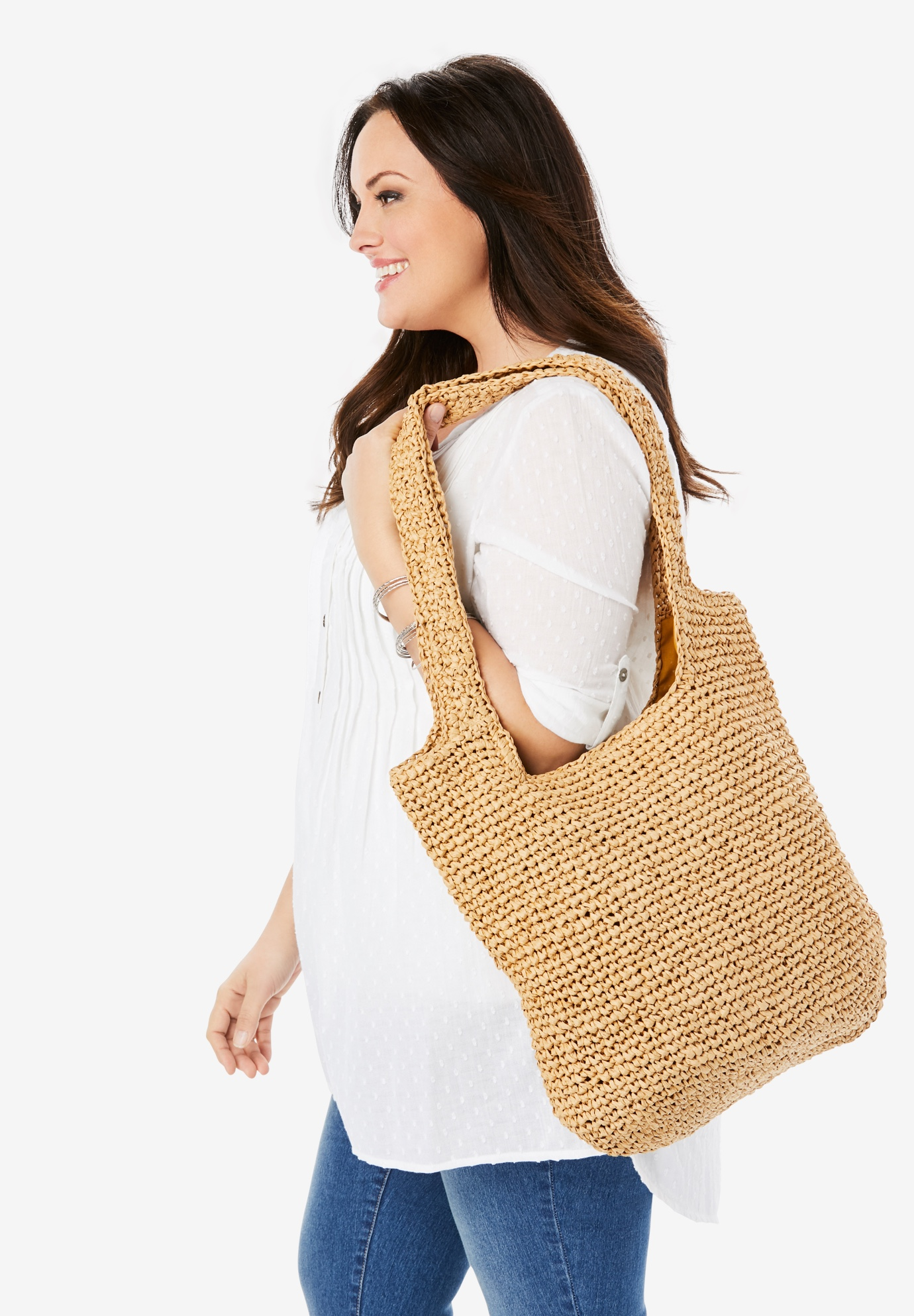 Straw Tote Bag, NATURAL