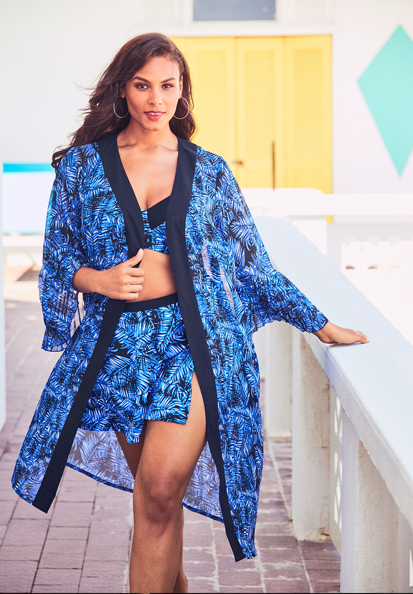 Bell-Sleeve Swim Coverup,