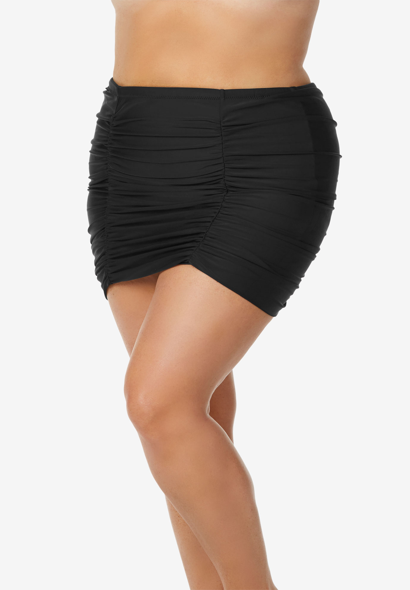 Shirred High-Waist Swim Skirt by Raisins Curve,