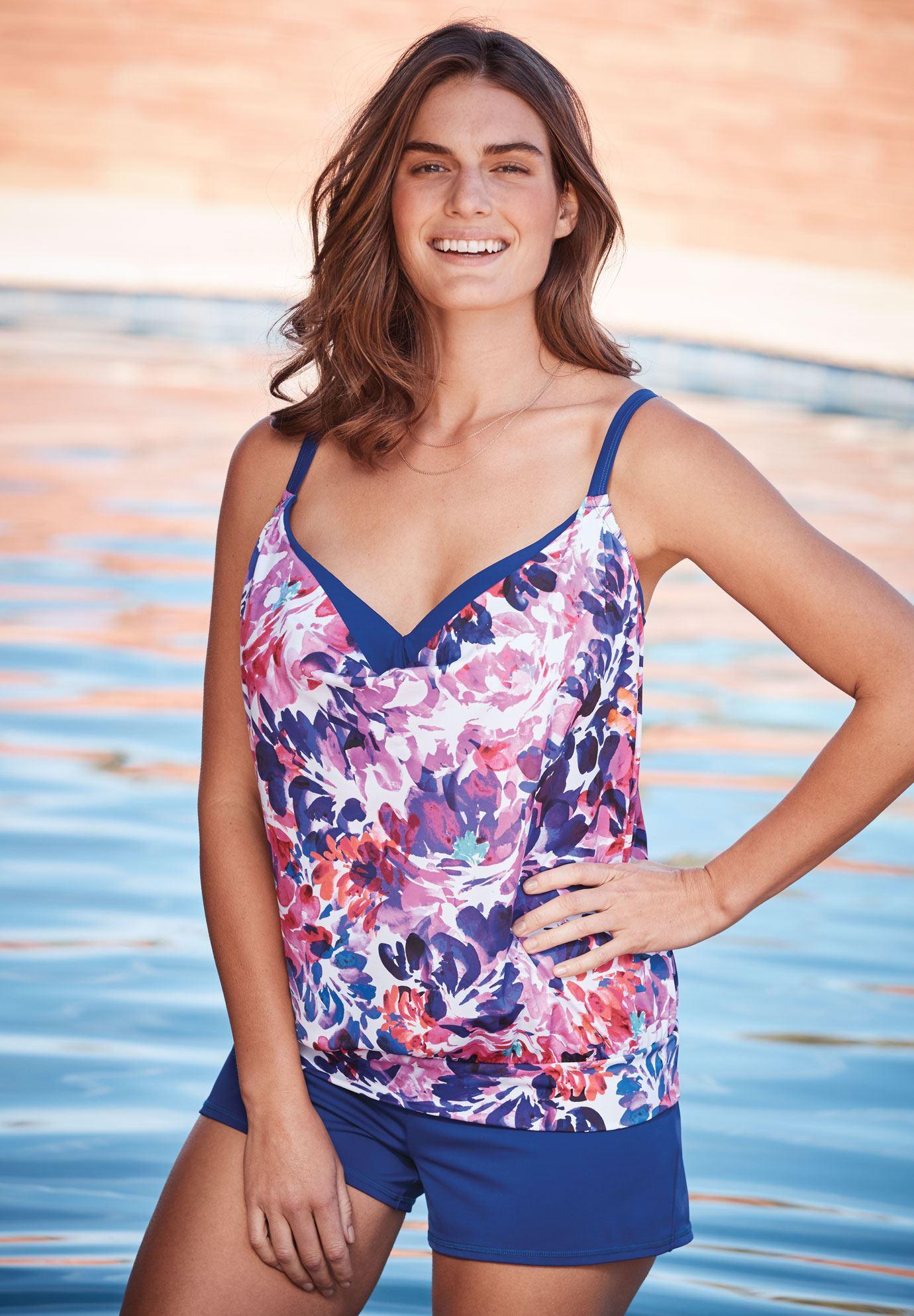 2-in-1 Blouson Tankini Top. | Plus Size Swim Tops | Woman ...