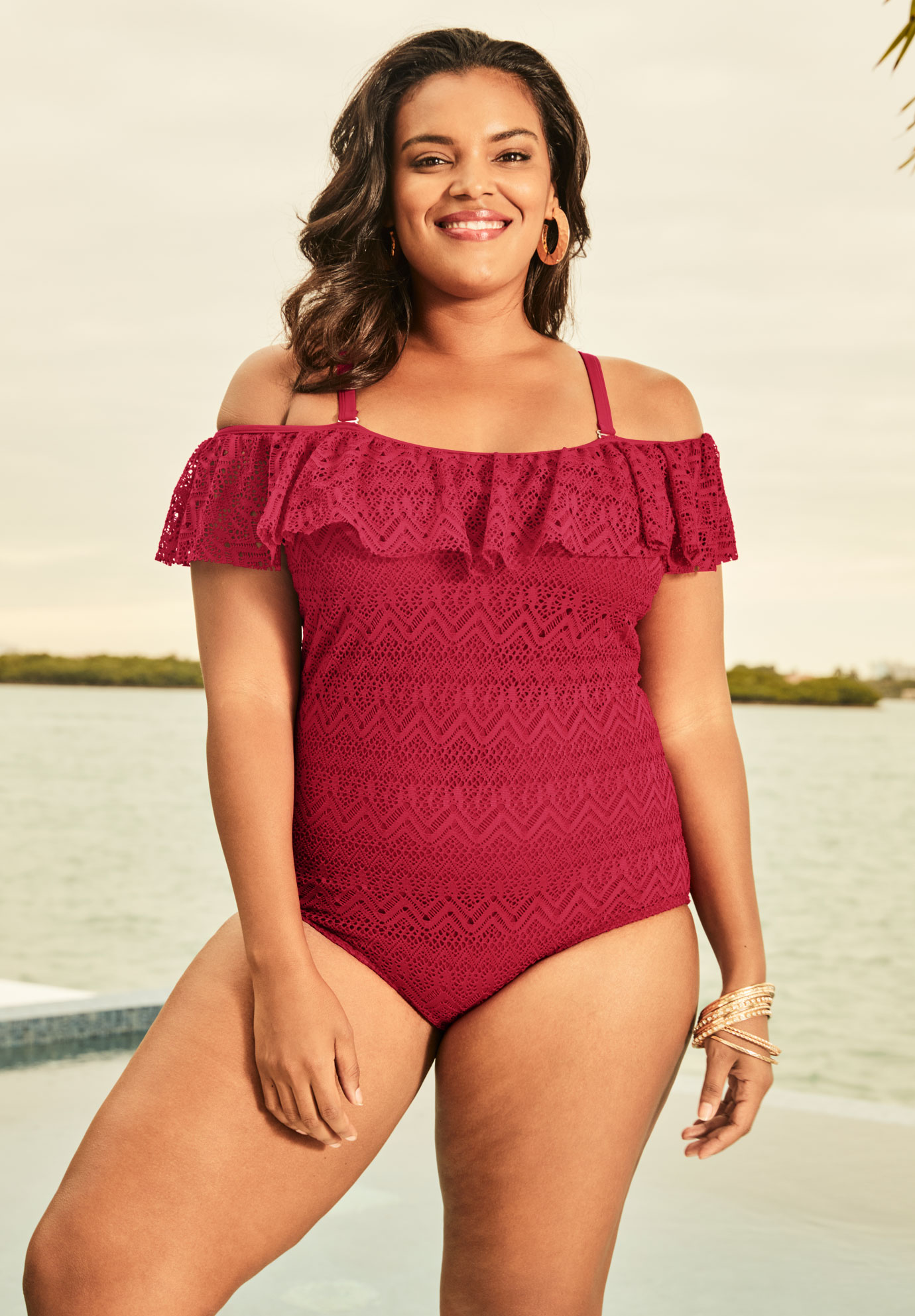 Off-The-Shoulder Swimsuit,