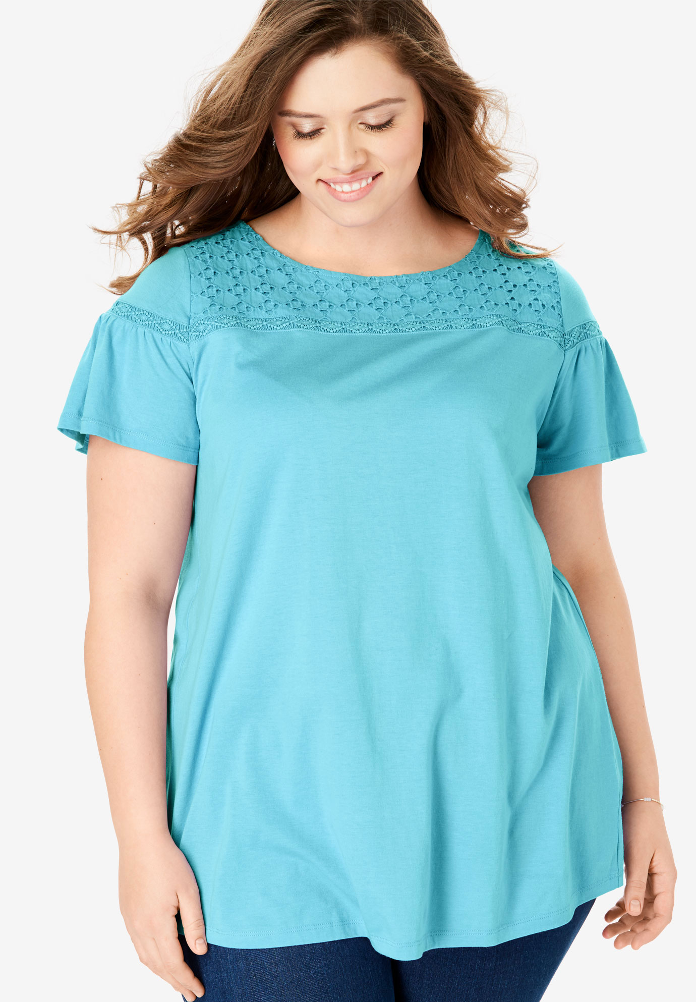 Flare Sleeve Eyelet Embroidered Tunic,