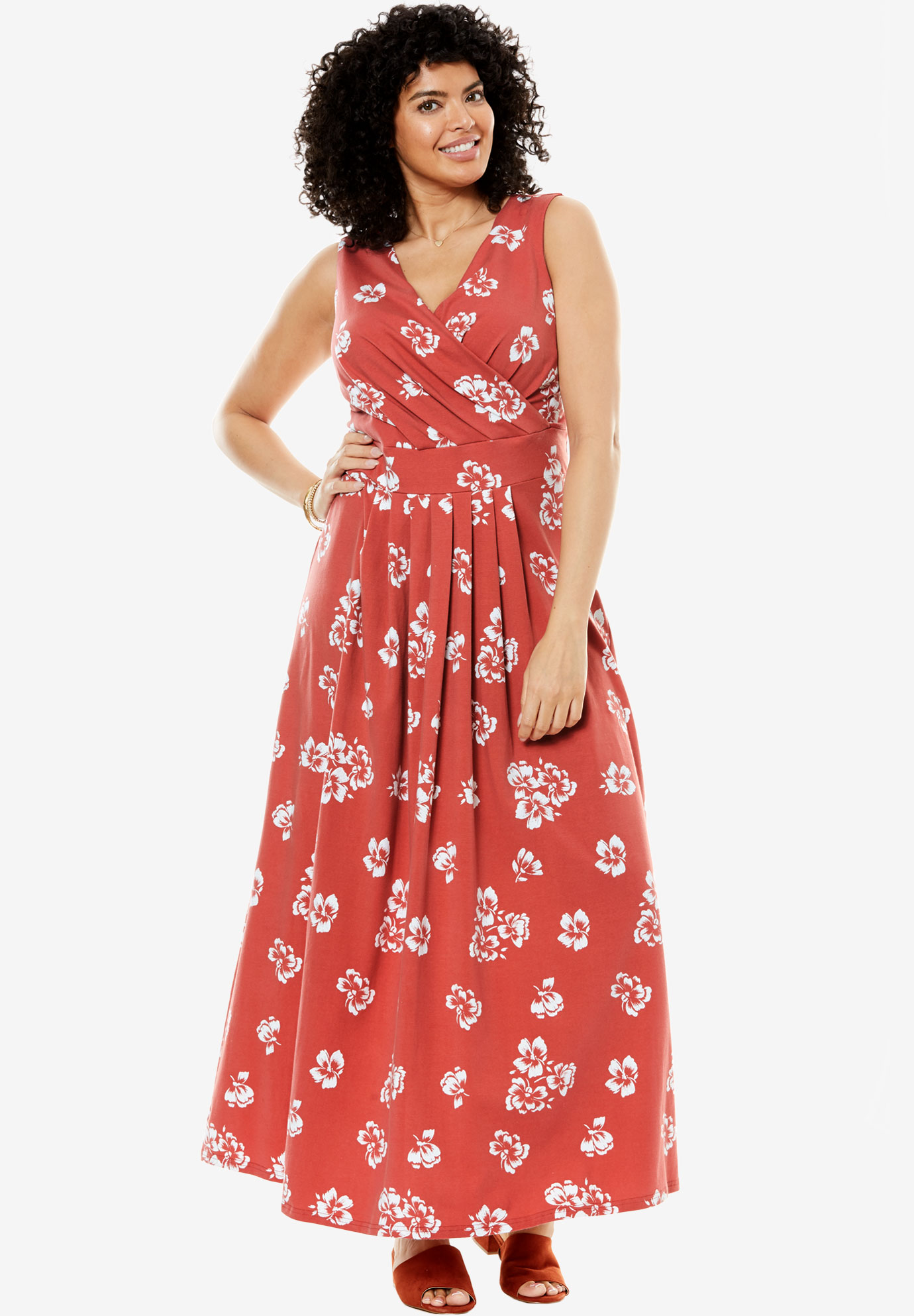 Stretch knit surplice dress in prints & solids, CLAY FLORAL, hi-res