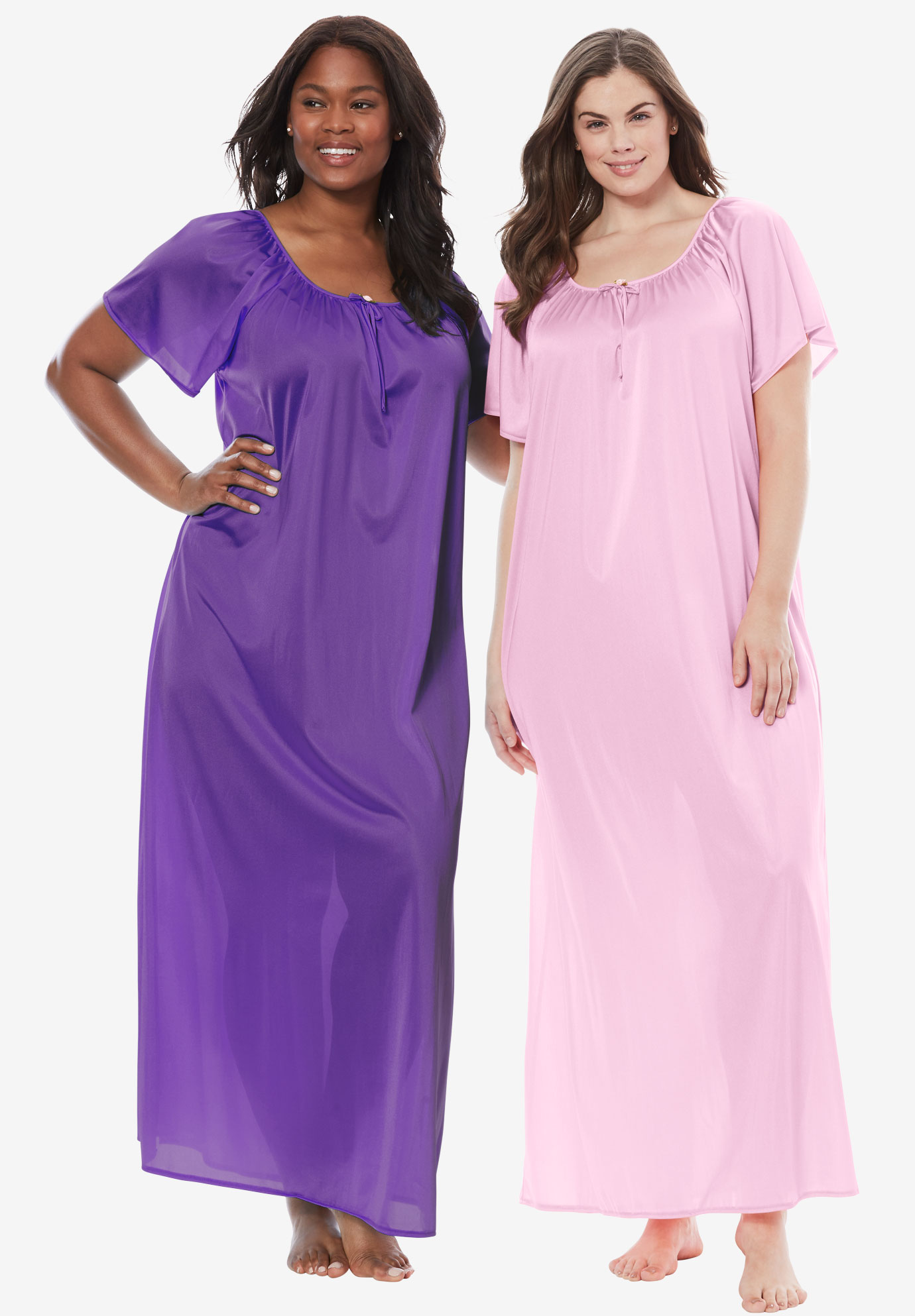 2-Pack Long Nightgown Set by Only Necessities®, PINK ROYAL GRAPE, hi-res