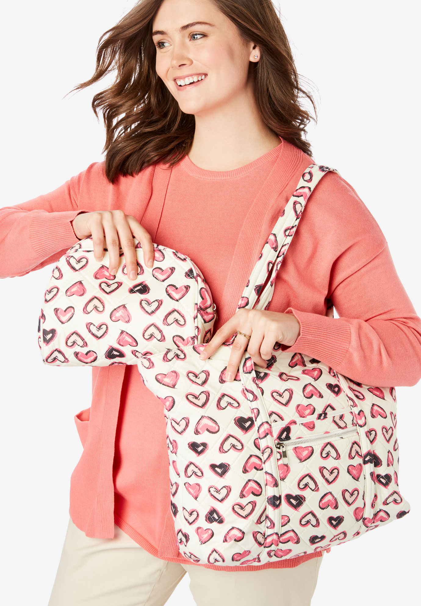 Heart Print Tote and Cosmetic Pouch, TEA ROSE PAINTED HEART