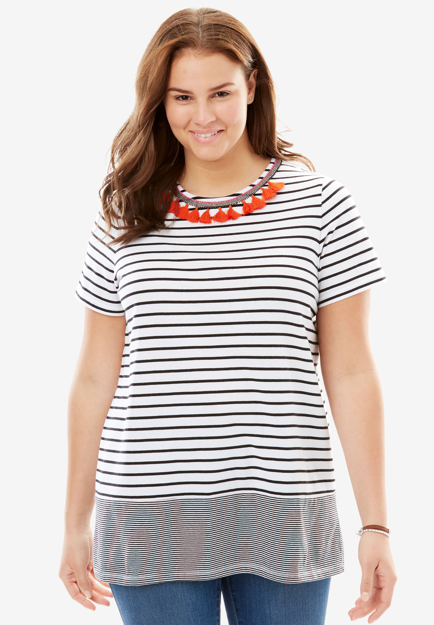 Tassel Accent Striped Tee,