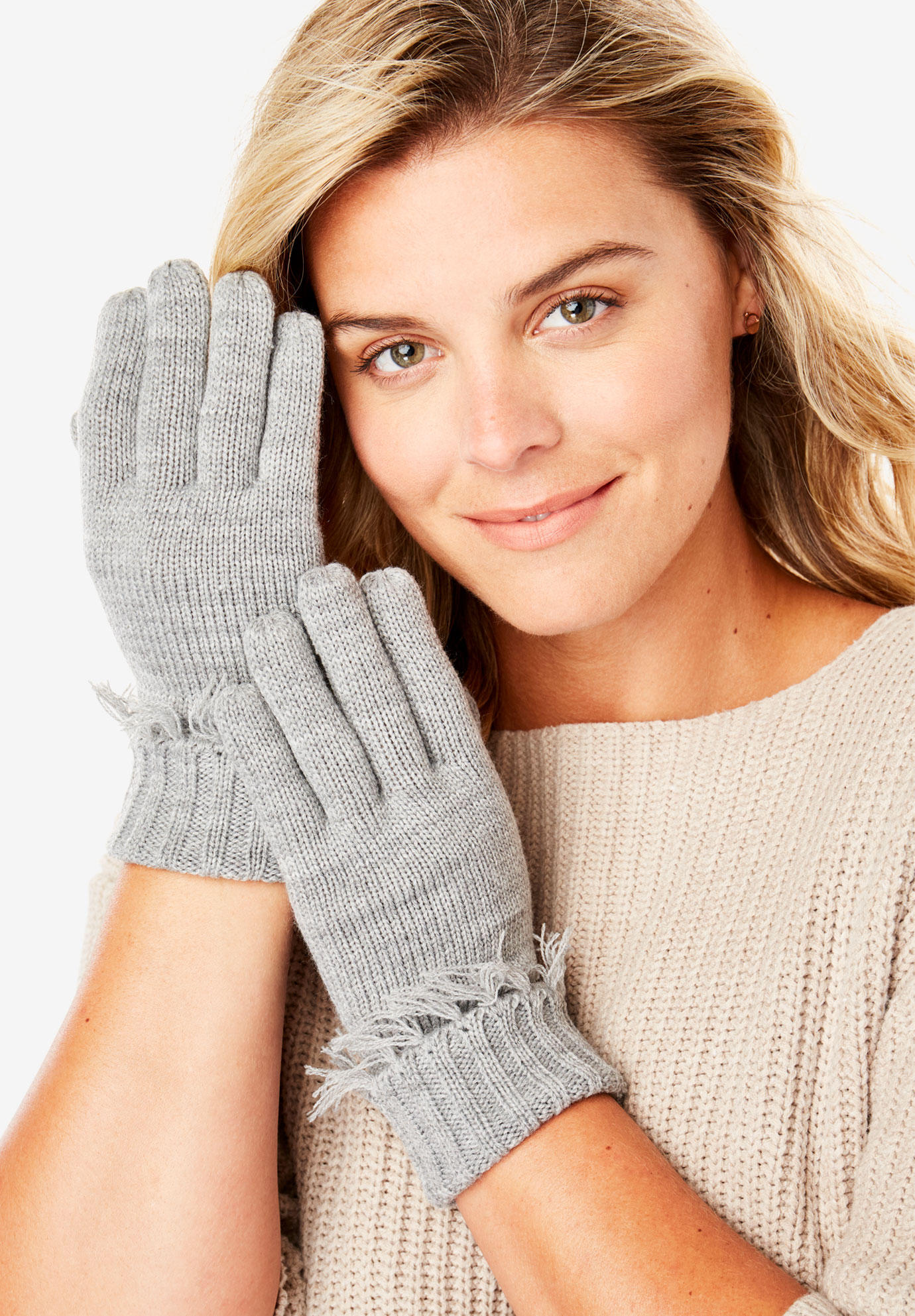 Fringed Knit Gloves,