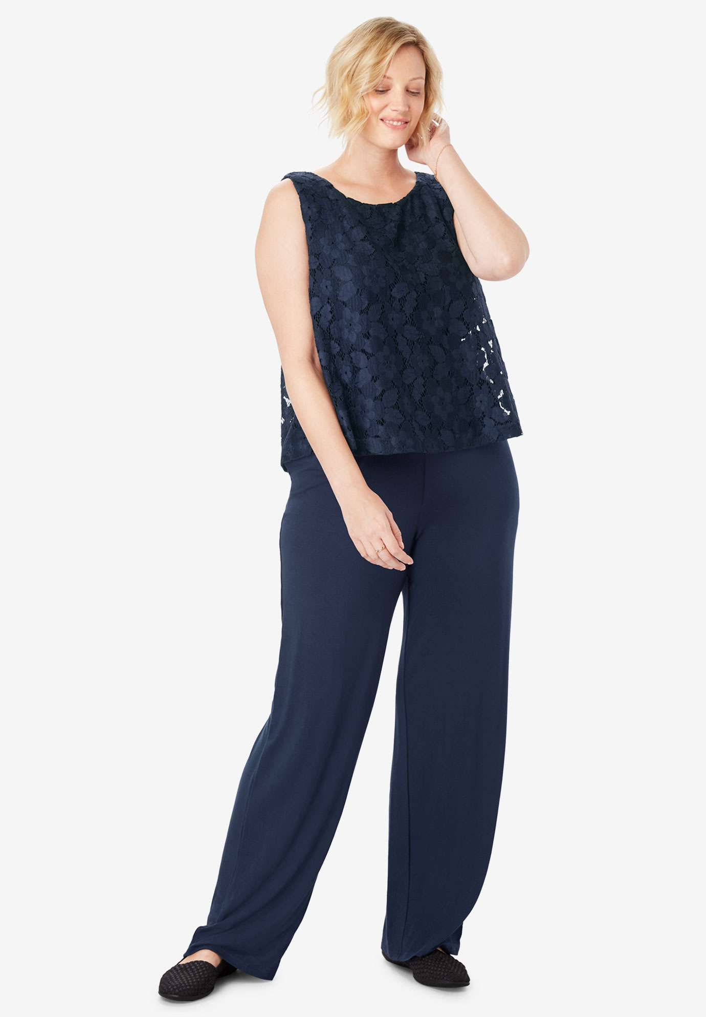 Lace Popover Sleeveless Jumpsuit,