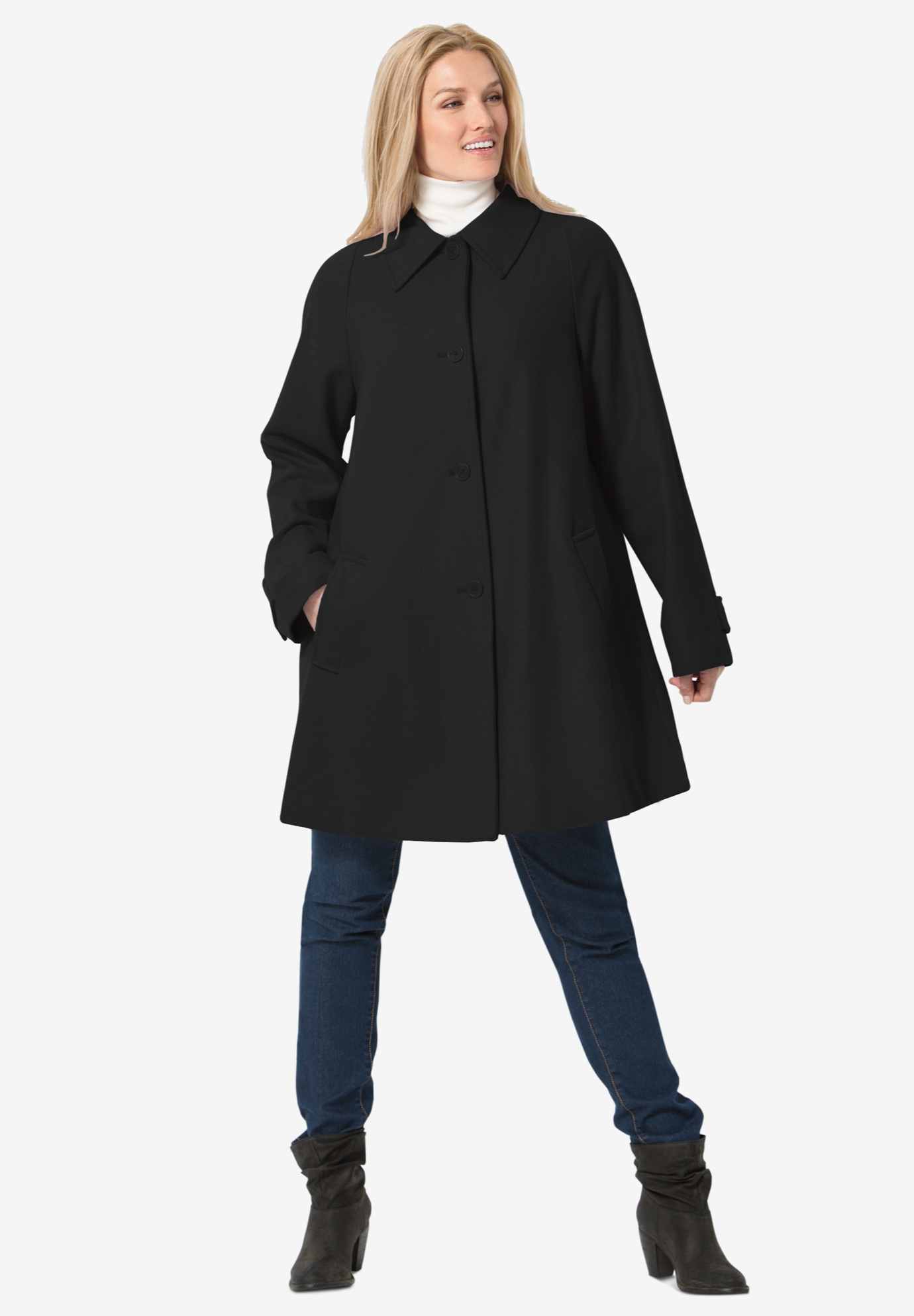 Wool-Blend Classic A-Line Coat, BLACK, hi-res