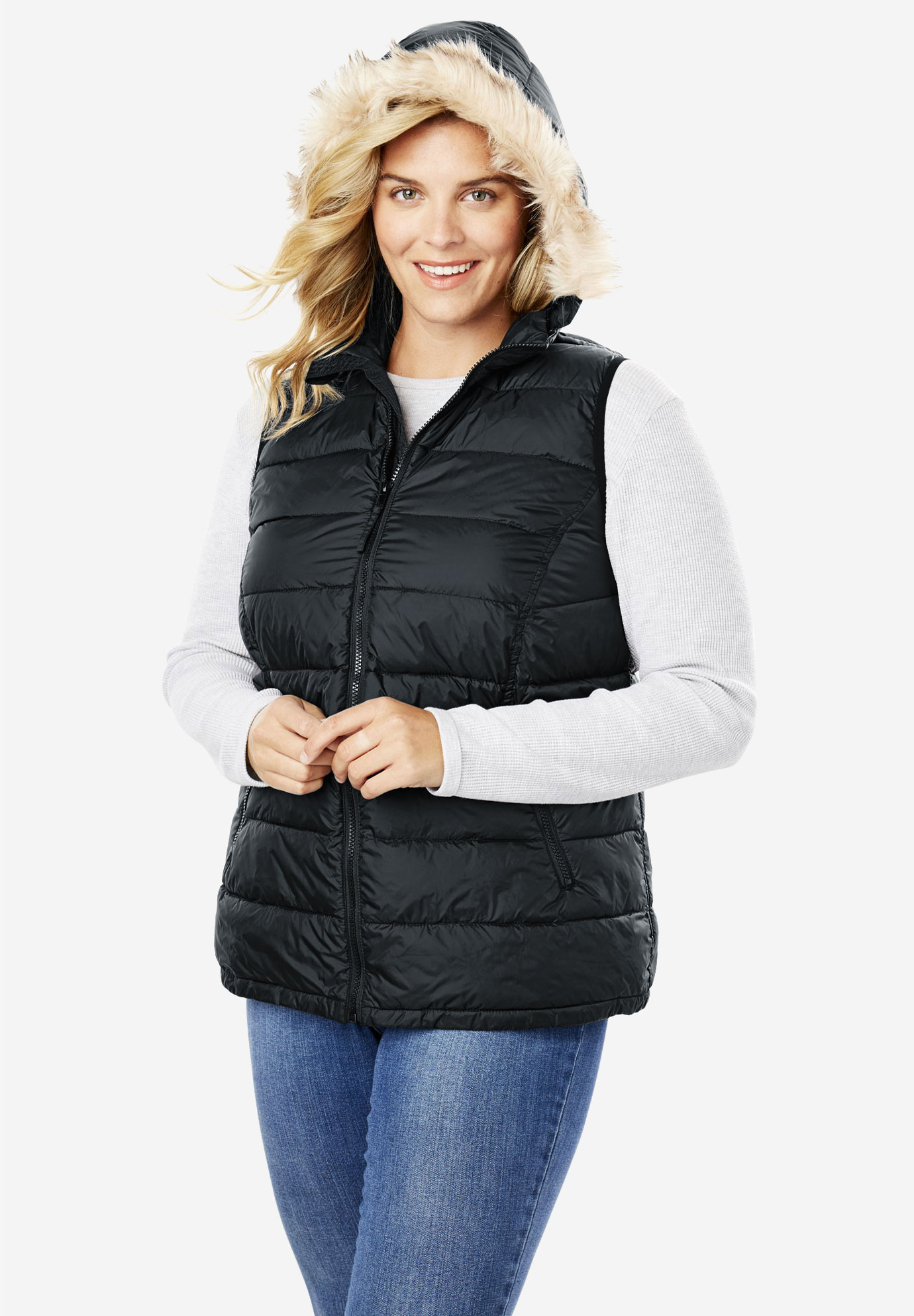 Fur Trim Hooded Puffer Vest,