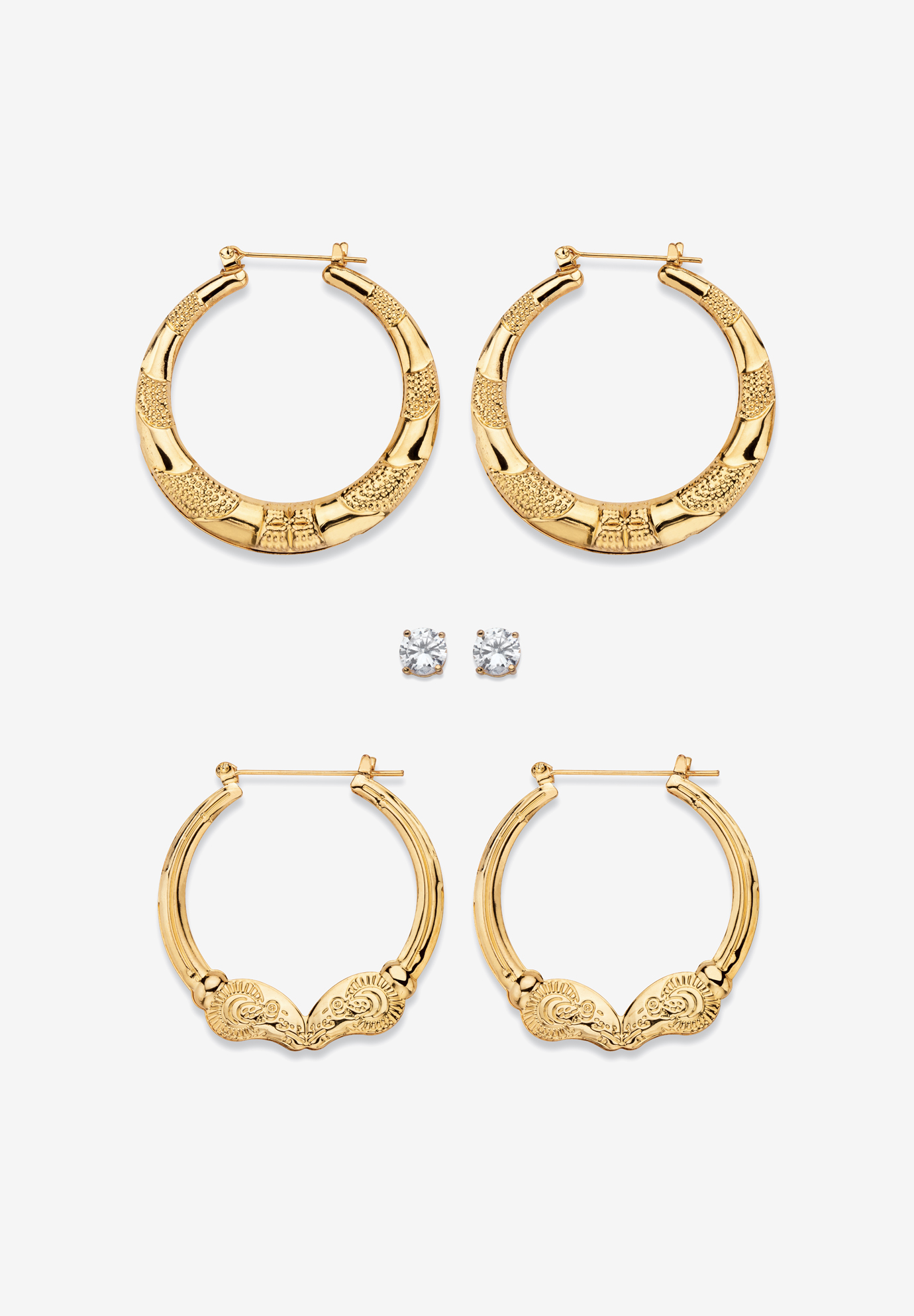 "4 TCW CZ Gold Tone Stud and Hoop Earring Set 2"", GOLD"