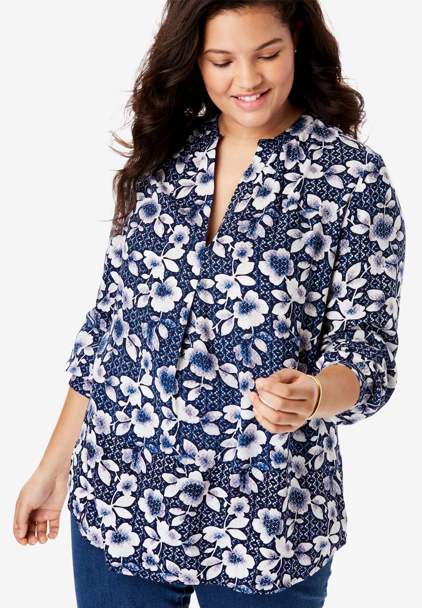 Split Neck Tunic Plus Size Tunics Woman Within