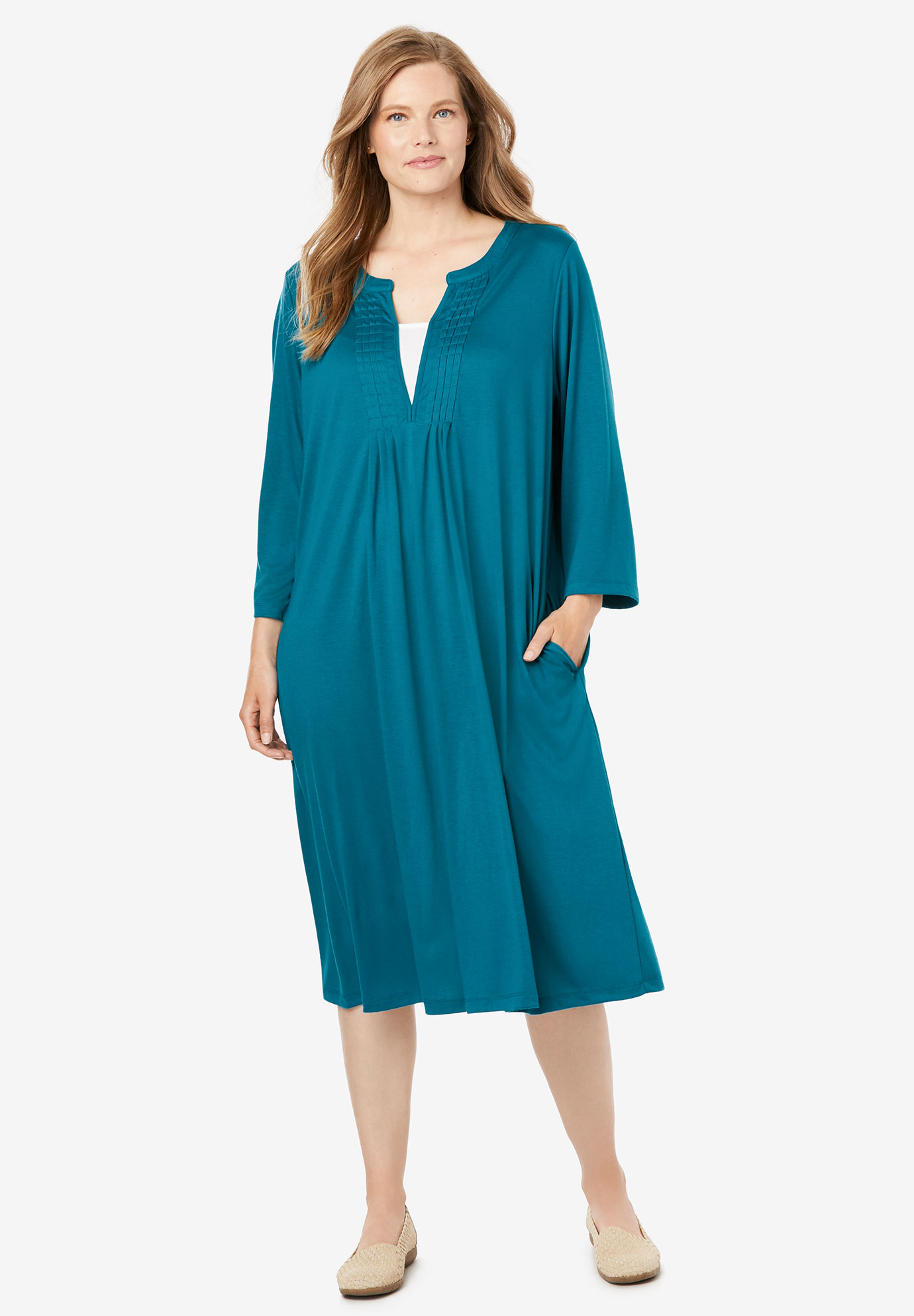 Pleat-Front Tunic Dress With Three-Quarter Sleeves,