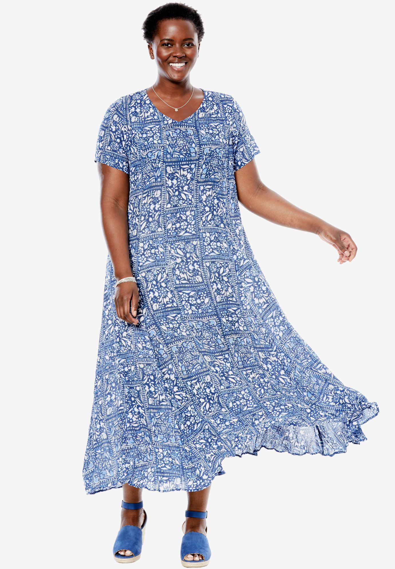 Short sleeve crinkle dress | Plus Size Maxi Dresses | Woman Within