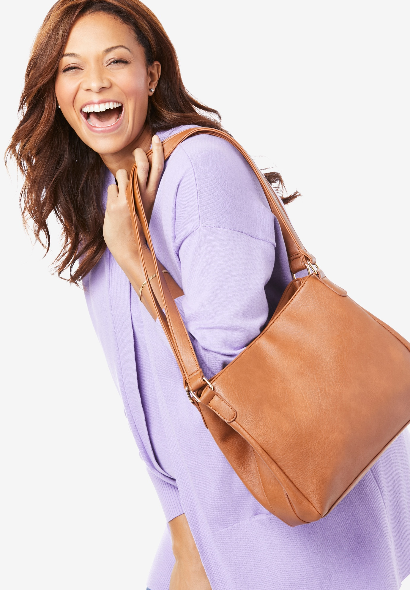 Faux Leather Casual Hobo Bag,