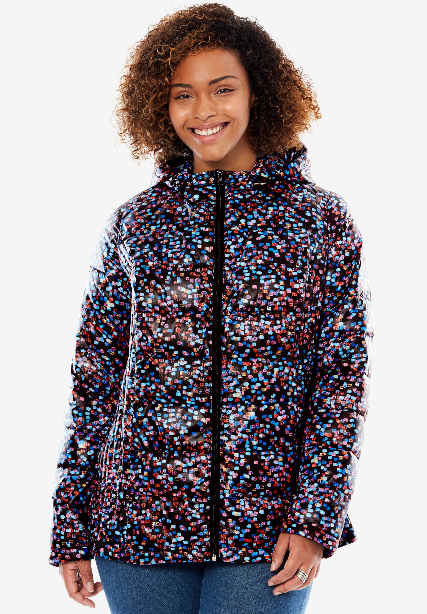 Packable Puffer Jacket, CONFETTI, hi-res