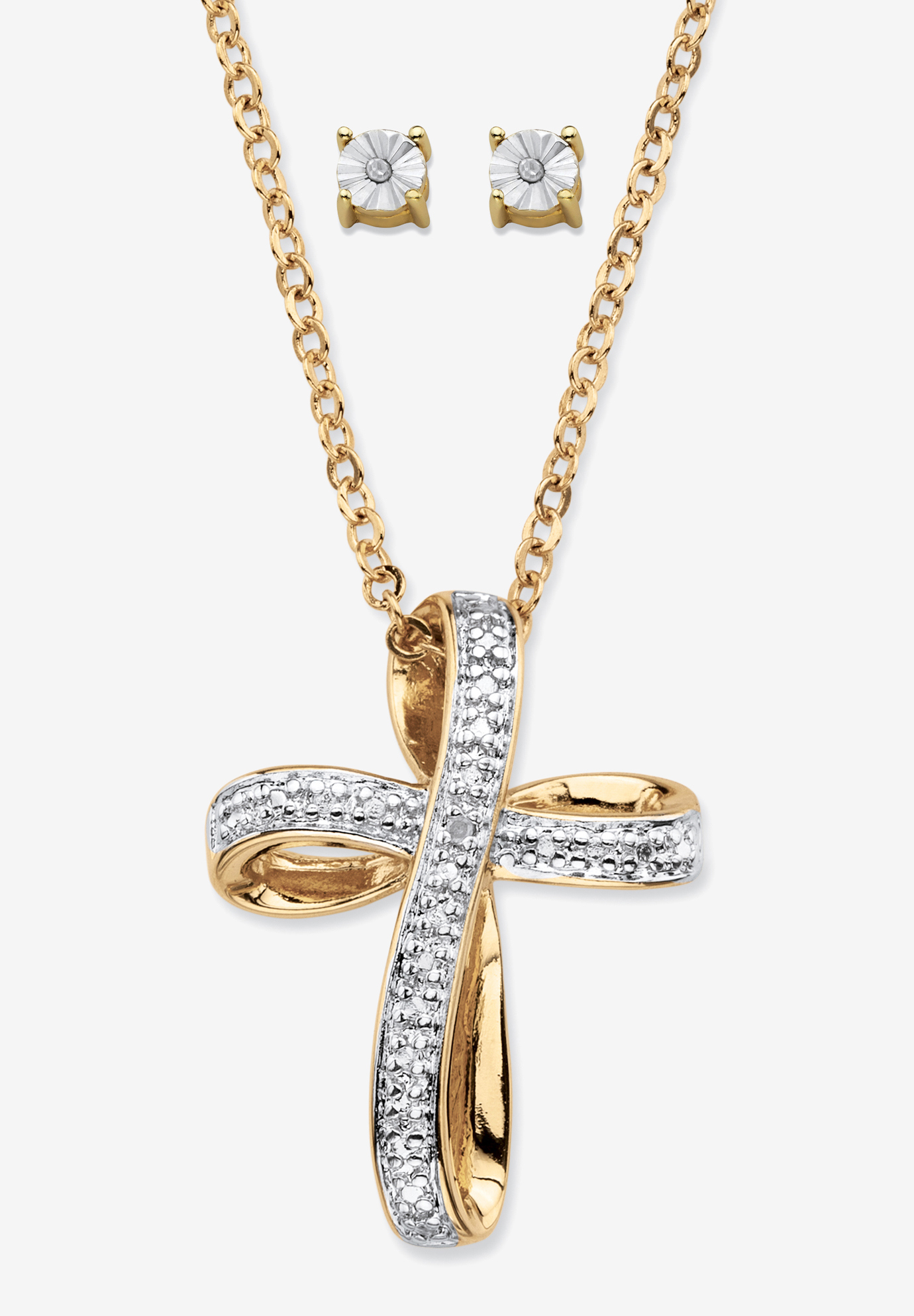 "Yellow Gold-Plated Cross Pendant with Genuine Diamond Accent on 18"" Chain, DIAMOND"