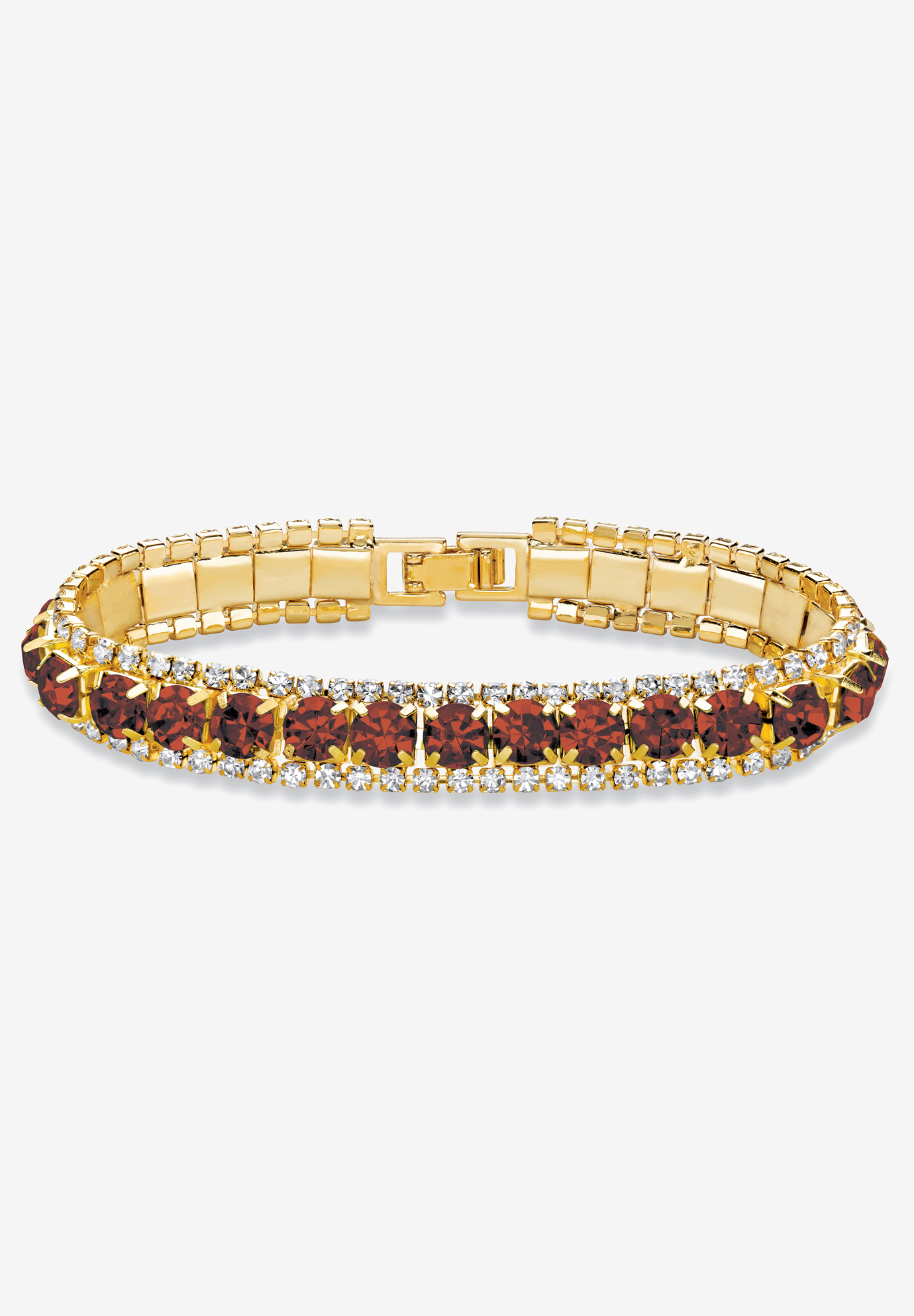 "Gold Tone Tennis Bracelet (10mm), Round Birthstones and Crystal, 7"", GARNET"