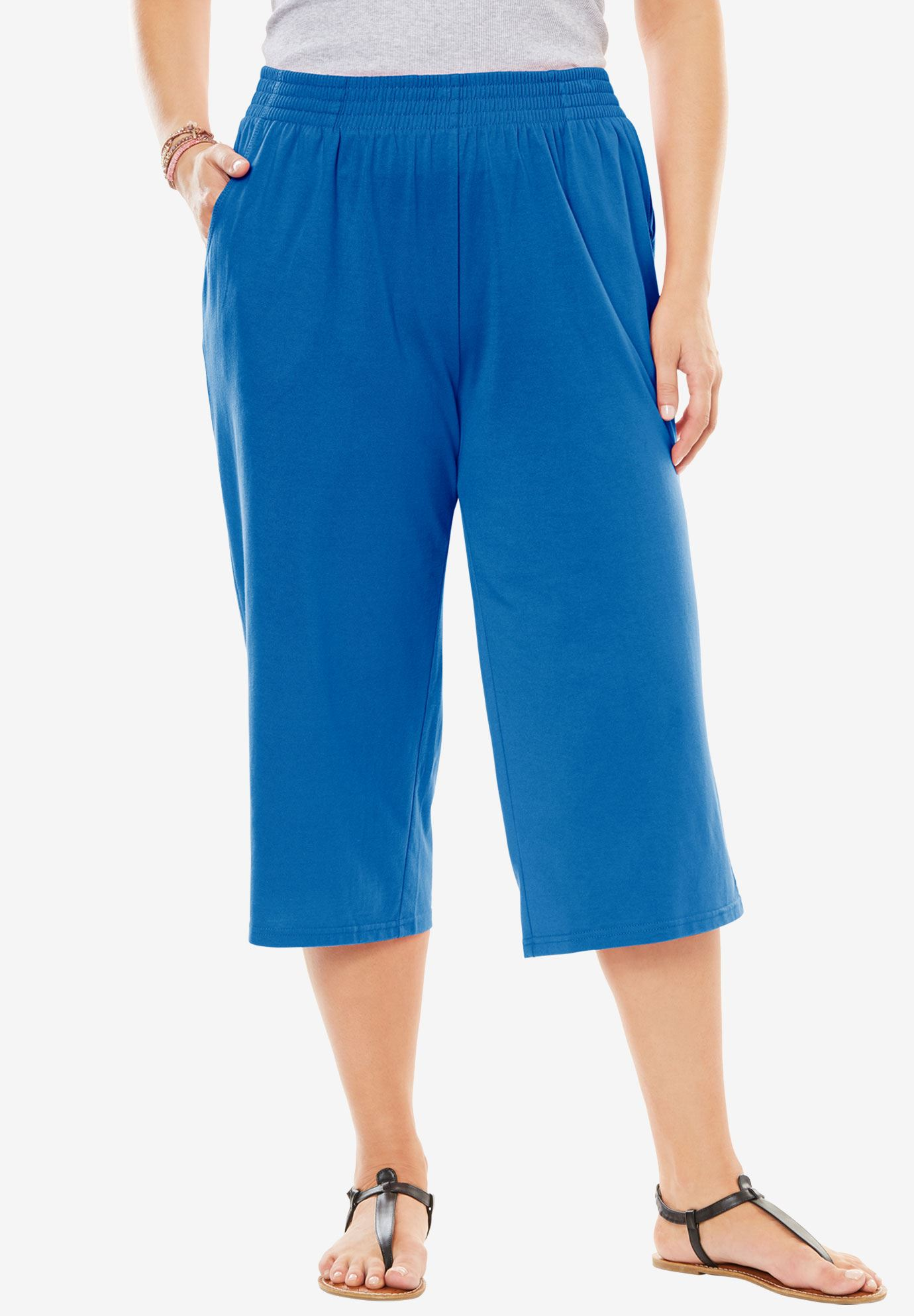 Knit capri pants, BRIGHT COBALT, hi-res