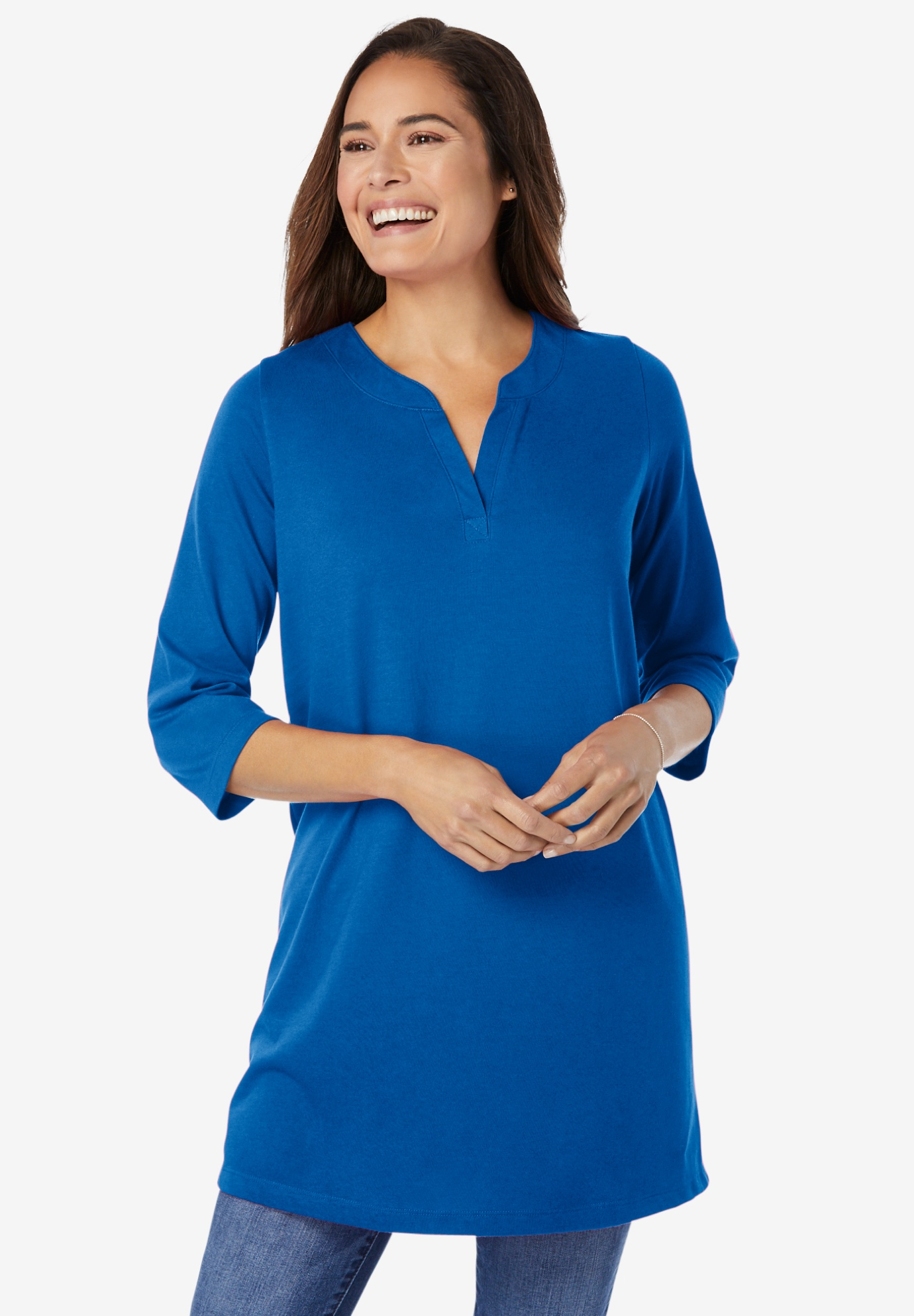 Three-Quarter Sleeve Notch-Neck Tunic,