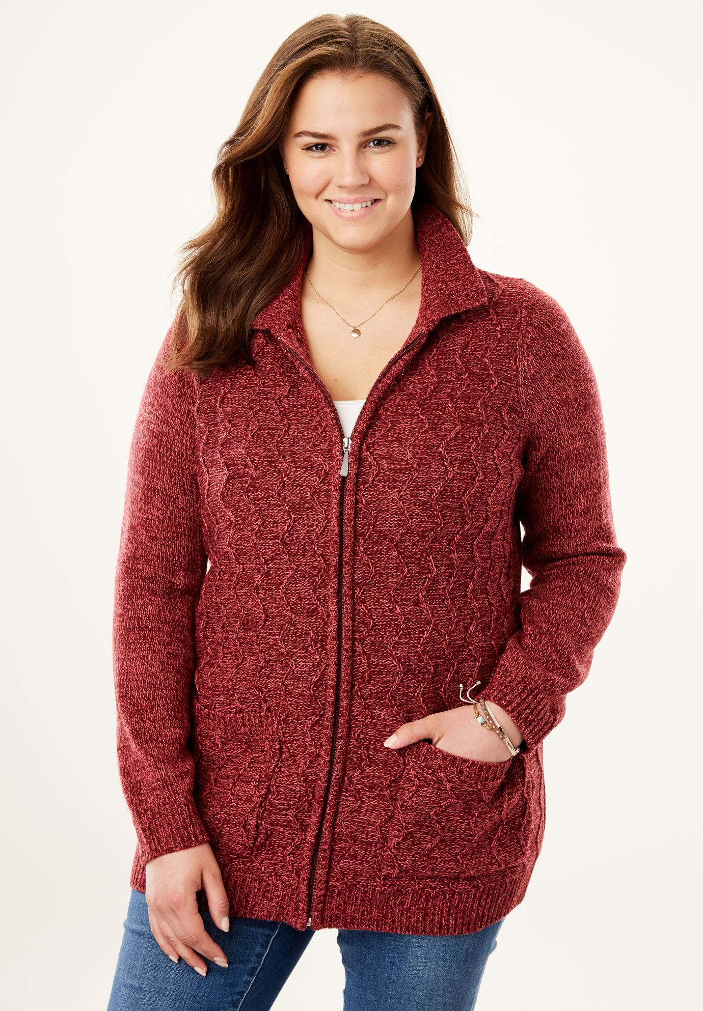 Marled Cable Knit Zip-Front Cardigan,