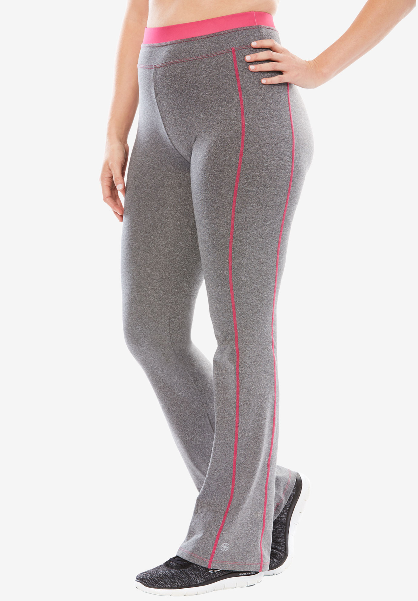 Yoga bootcut pants by FullBeauty SPORT®, GREY MELANGE PASSION PINK, hi-res
