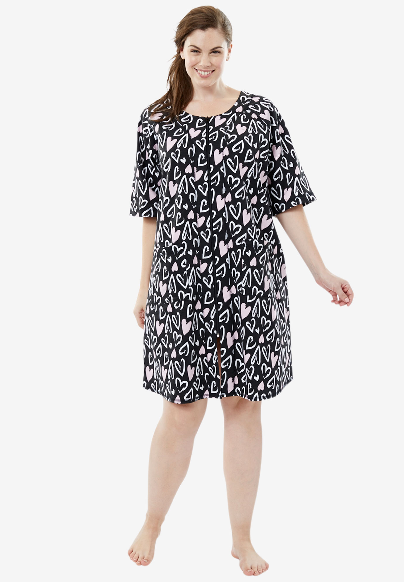 Short French Terry Robe by Dreams & Co® | Plus Size Robes & Slippers ...
