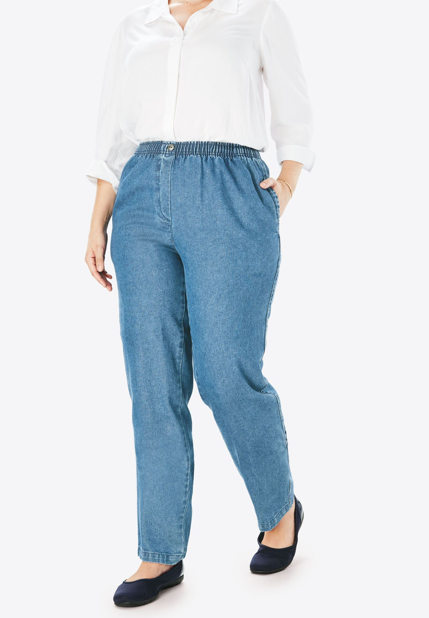 100% Cotton Comfort Pull On Jean, , hi-res