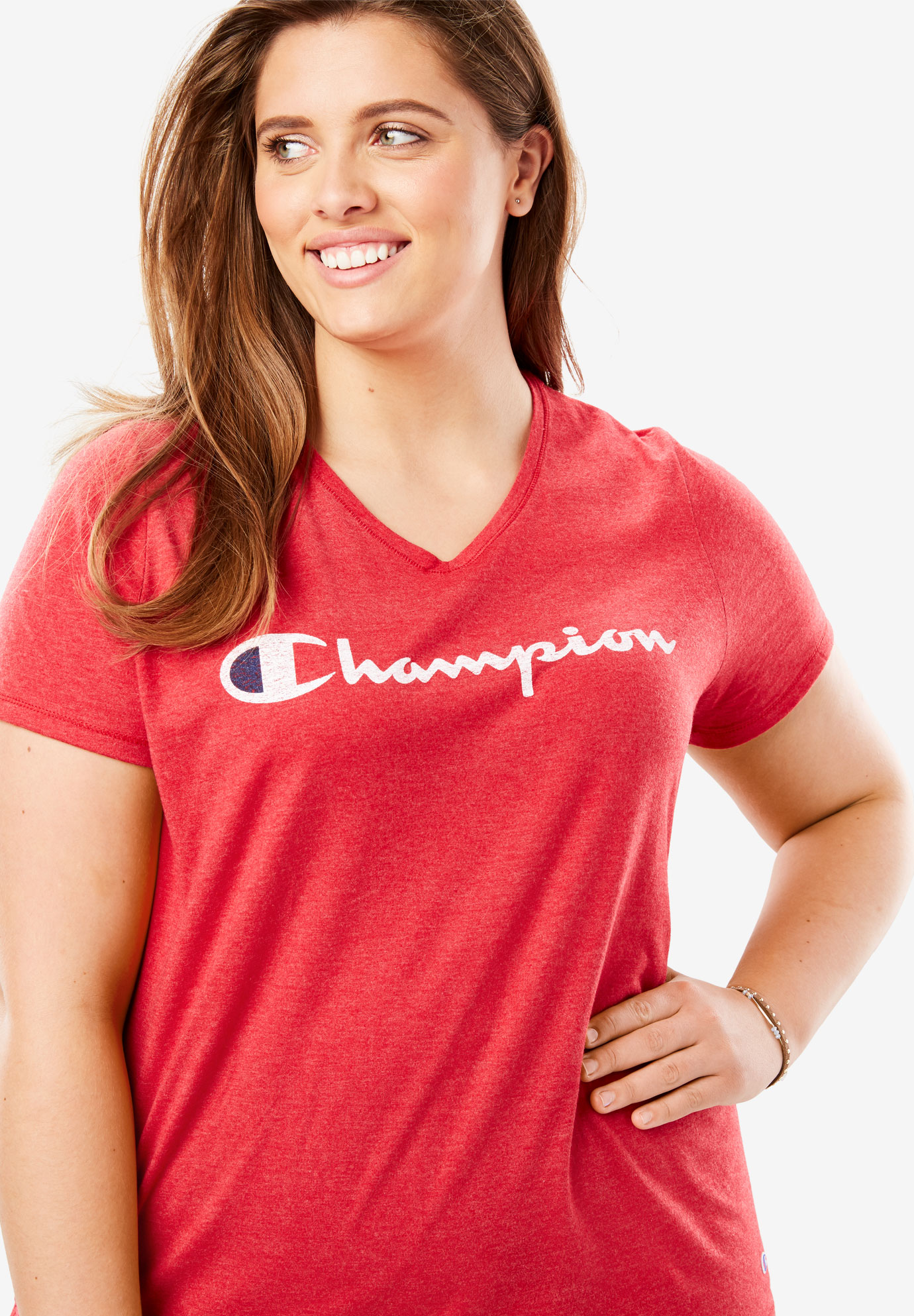 Jersey V-Neck Script Logo Tee by Champion®,