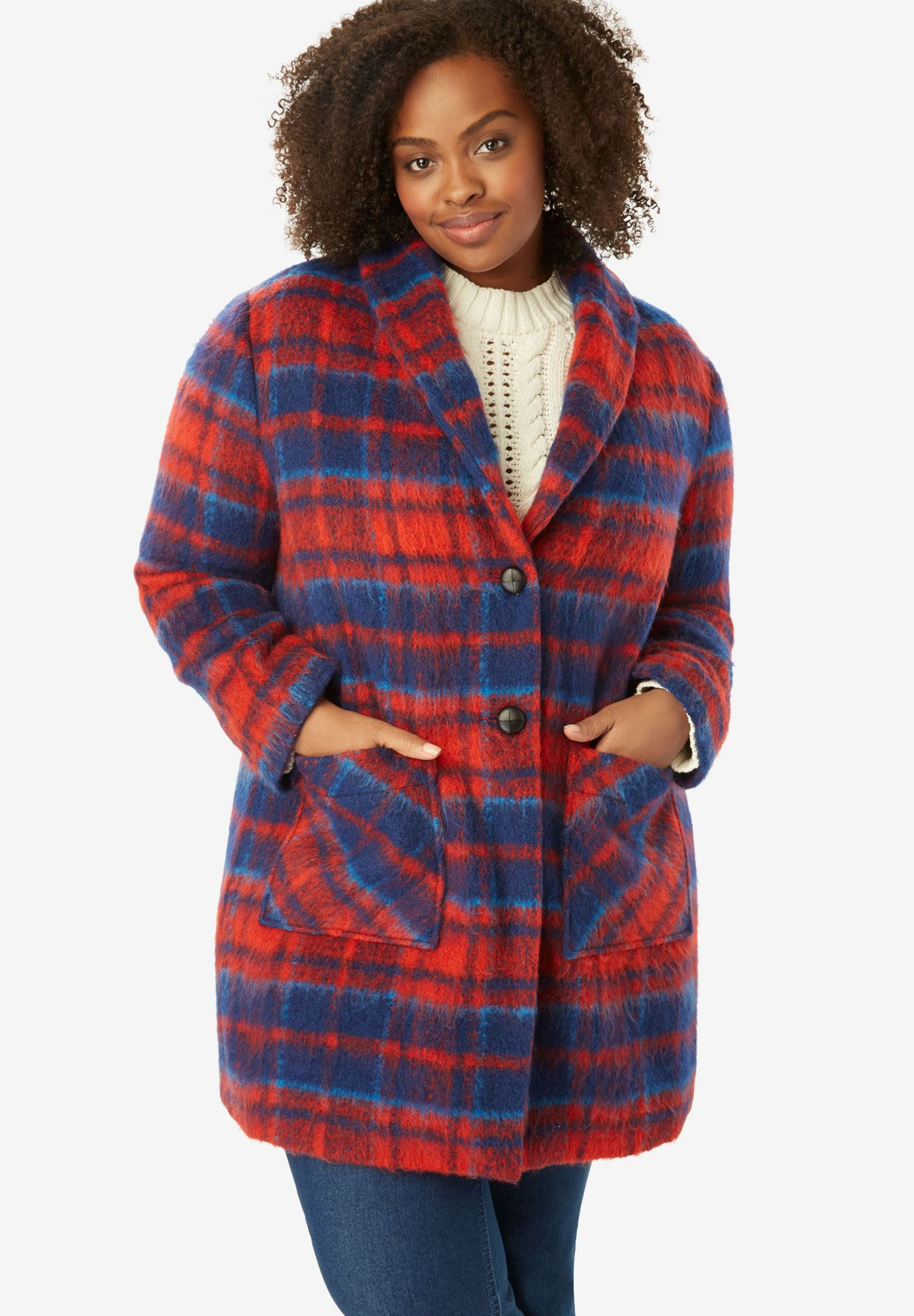 Plaid Drop Lapel Jacket,