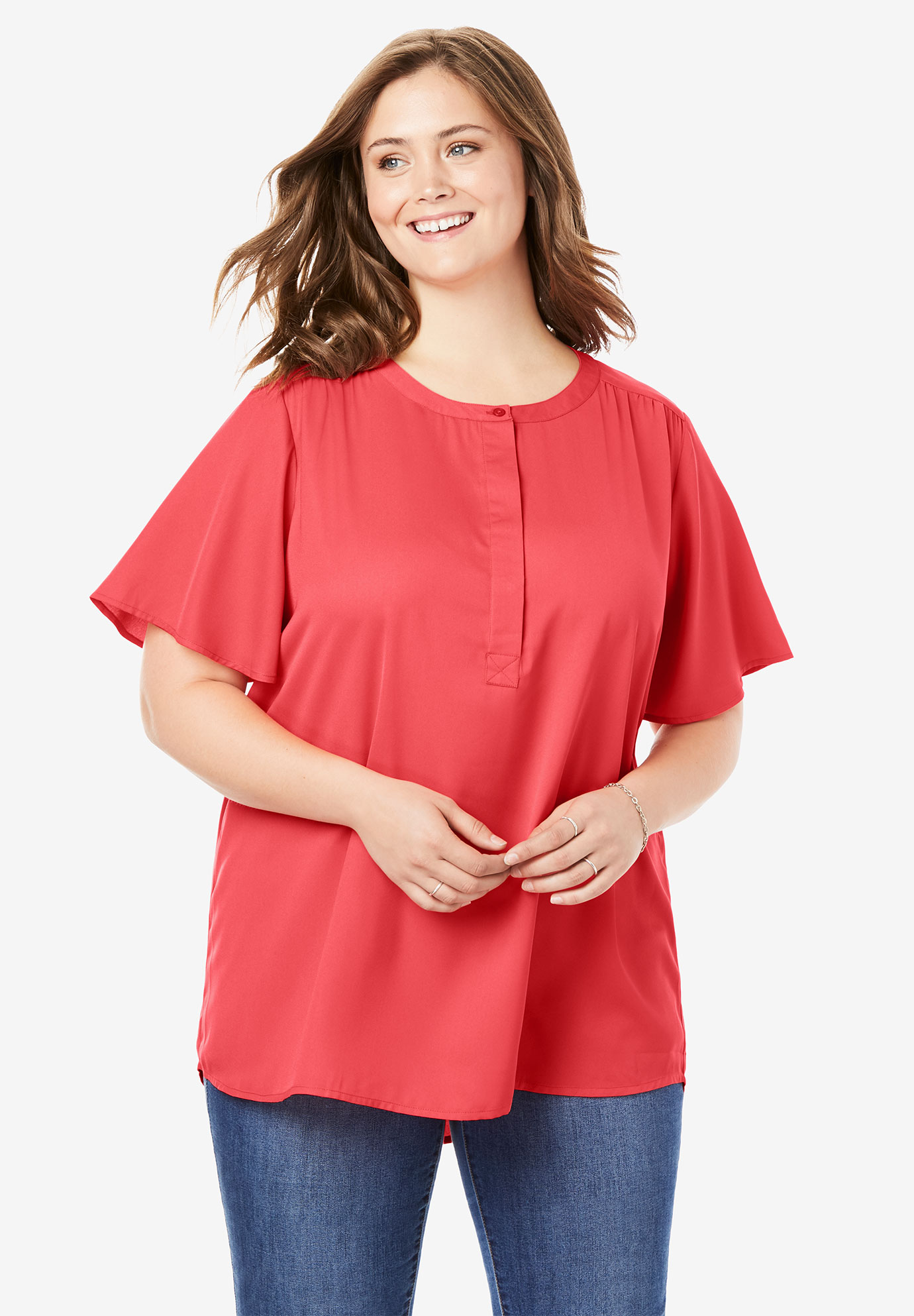 Half-Placket Tunic With Short Flutter-Sleeves,