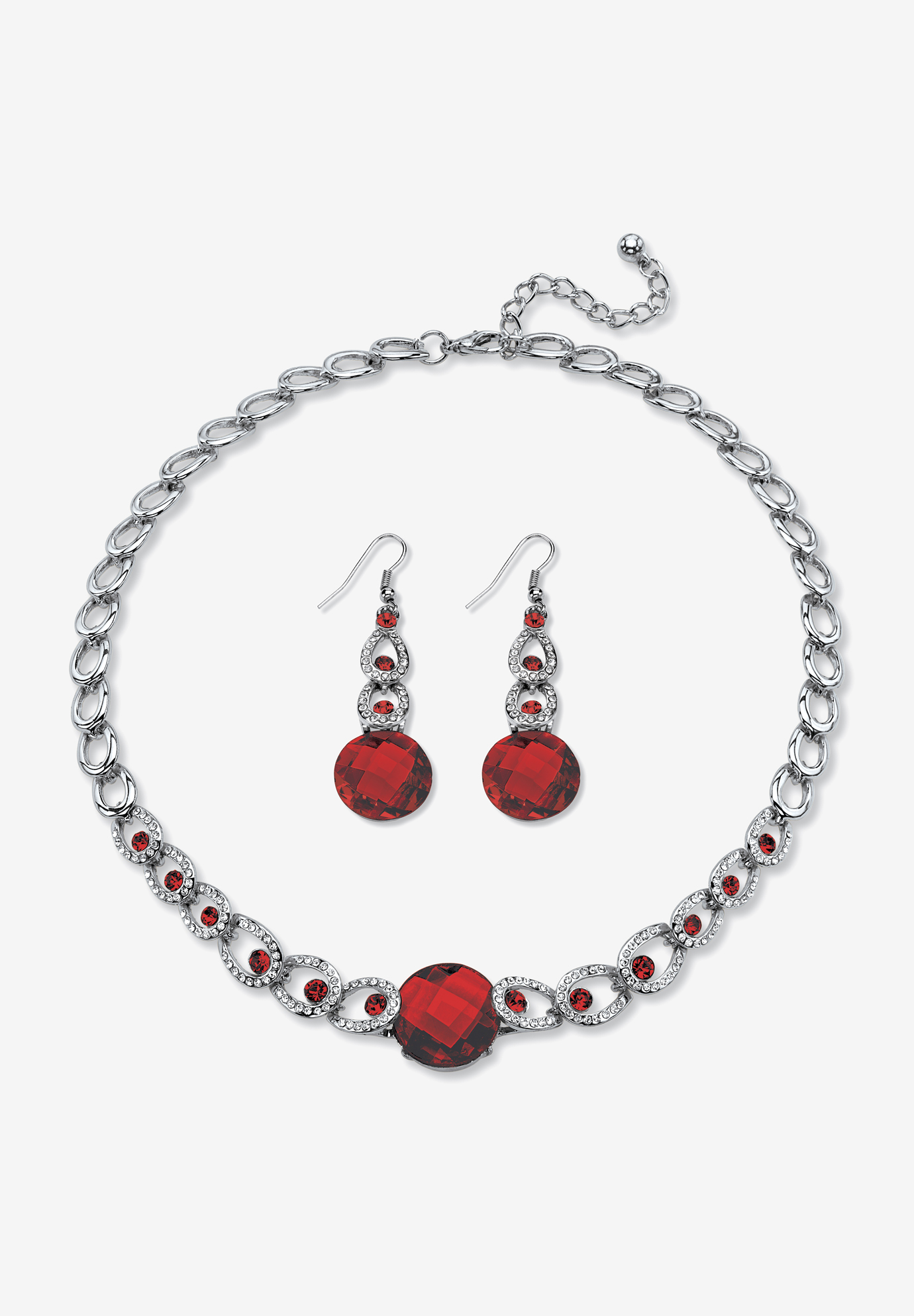 Silver Tone Collar Necklace and Earring Set, Simulated Birthstone, GARNET