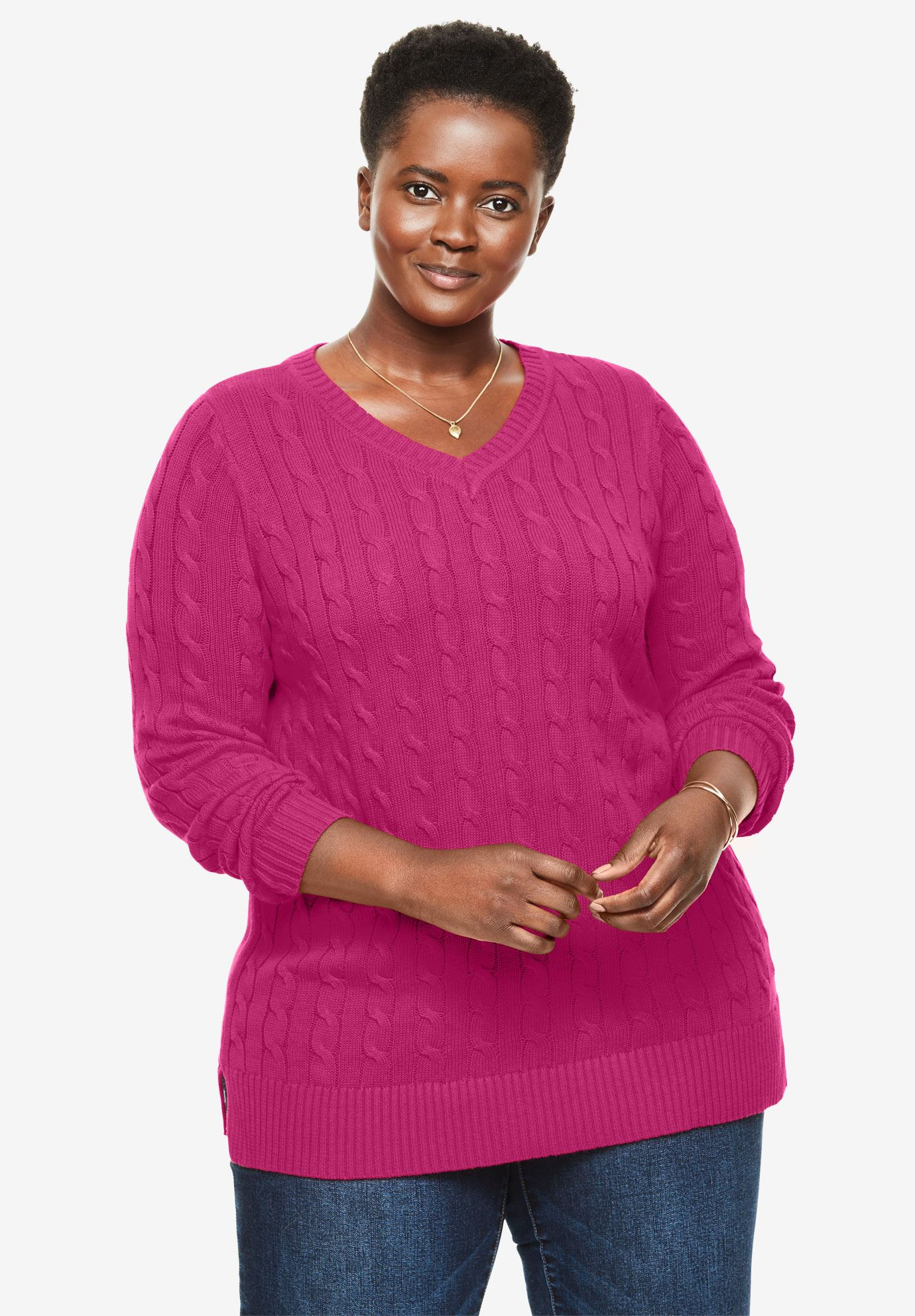 Cable Knit V Neck Pullover Sweater Plus Size Sweaters Woman Within