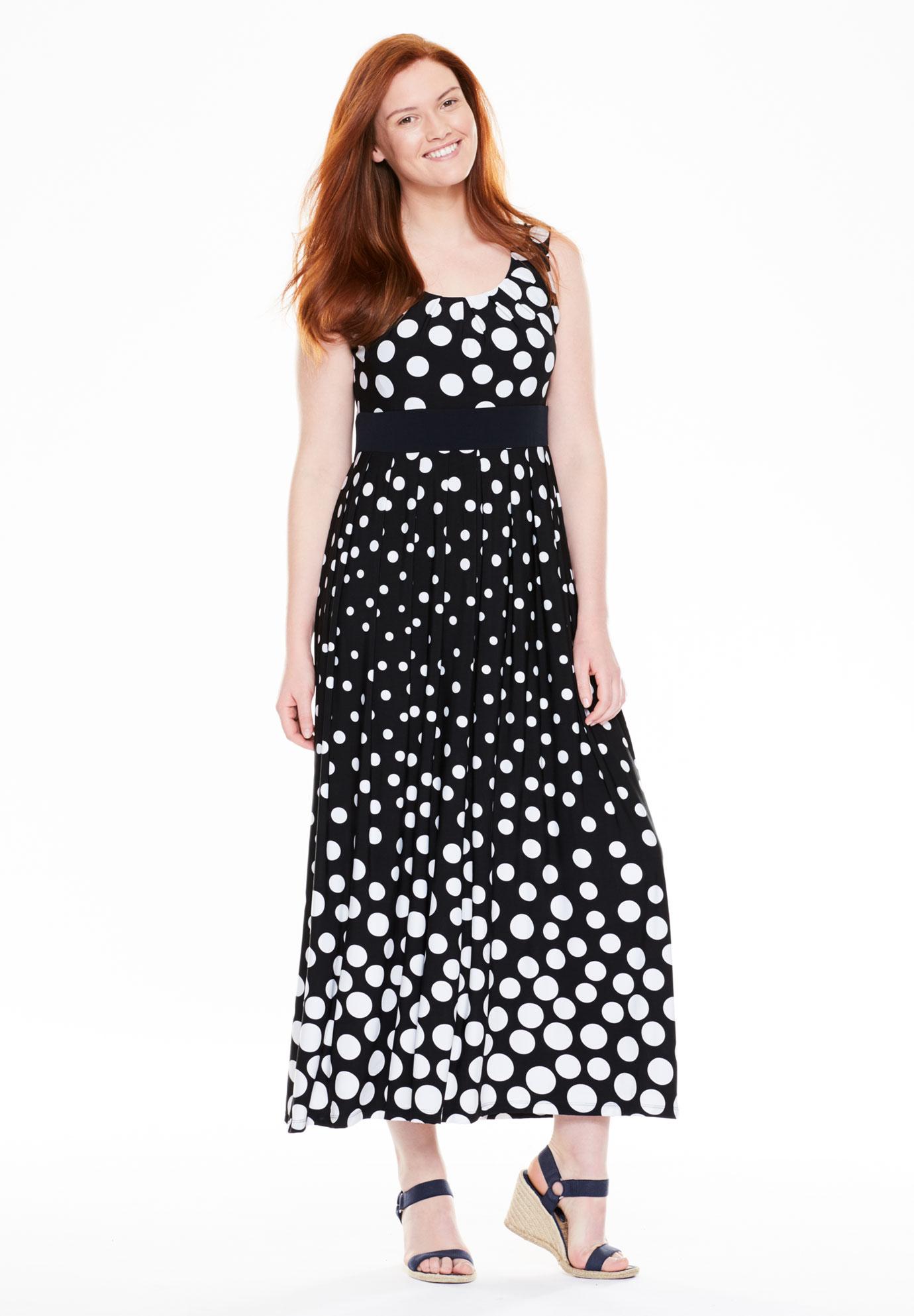 Dress, with polka dots in maxi length, BLACK WHITE DOT, hi-res