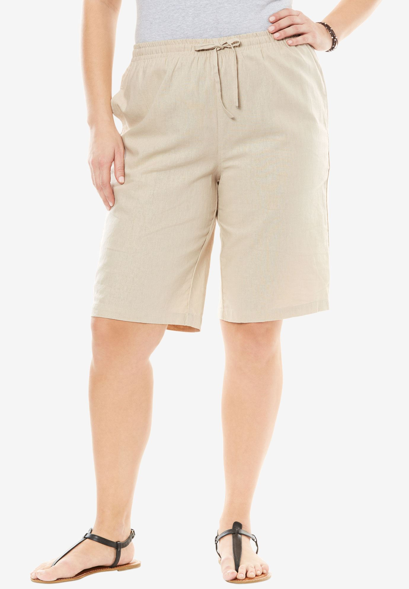 Linen shorts, NATURAL KHAKI, hi-res