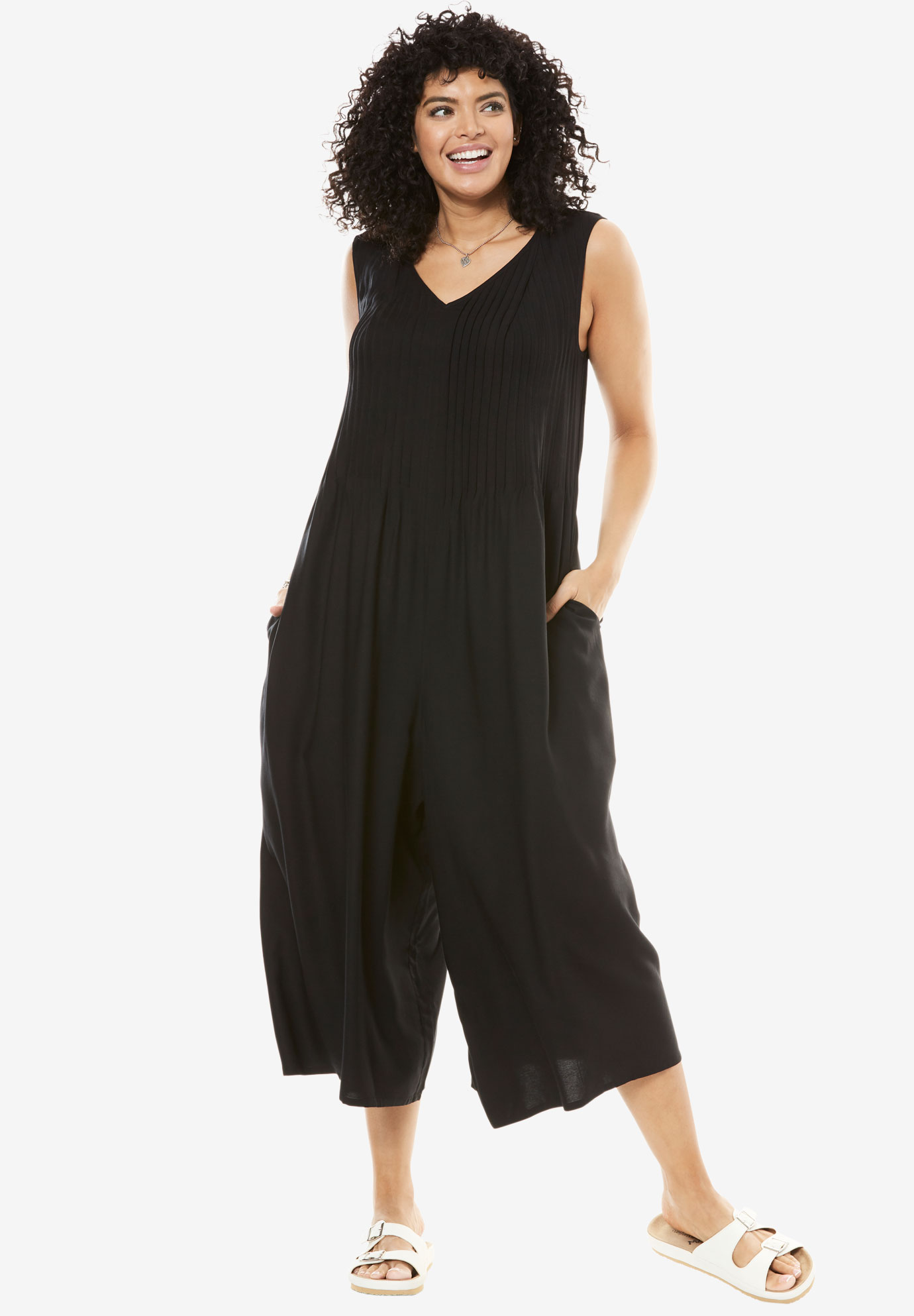 Sleeveless pintuck palazzo jumpsuit, BLACK, hi-res