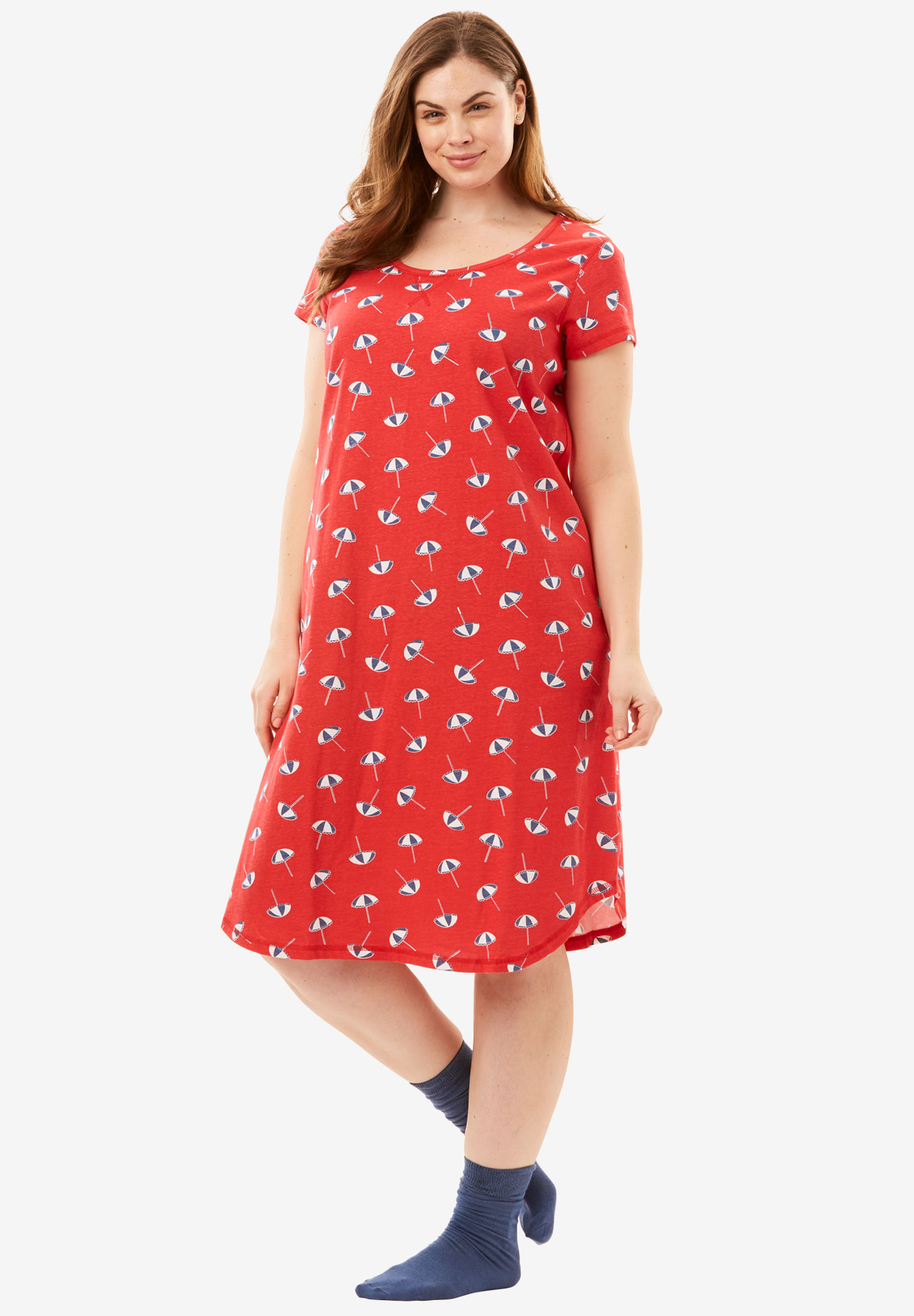 Short Scoopneck Sleepshirt with Free Socks by Dreams & Co.®,