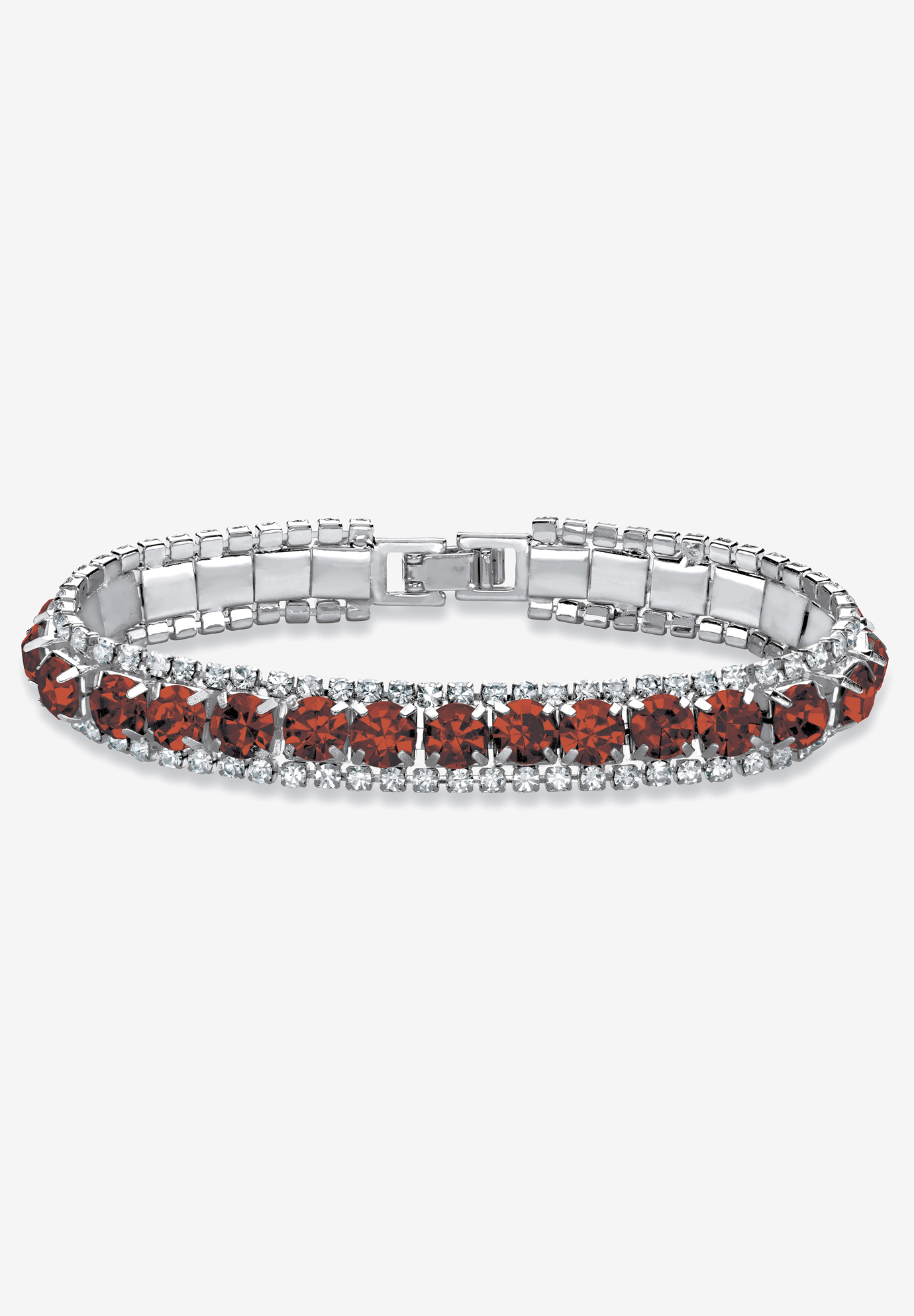 "Silver Tone Tennis Bracelet Simulated Birthstones and Crystal, 7"", GARNET"