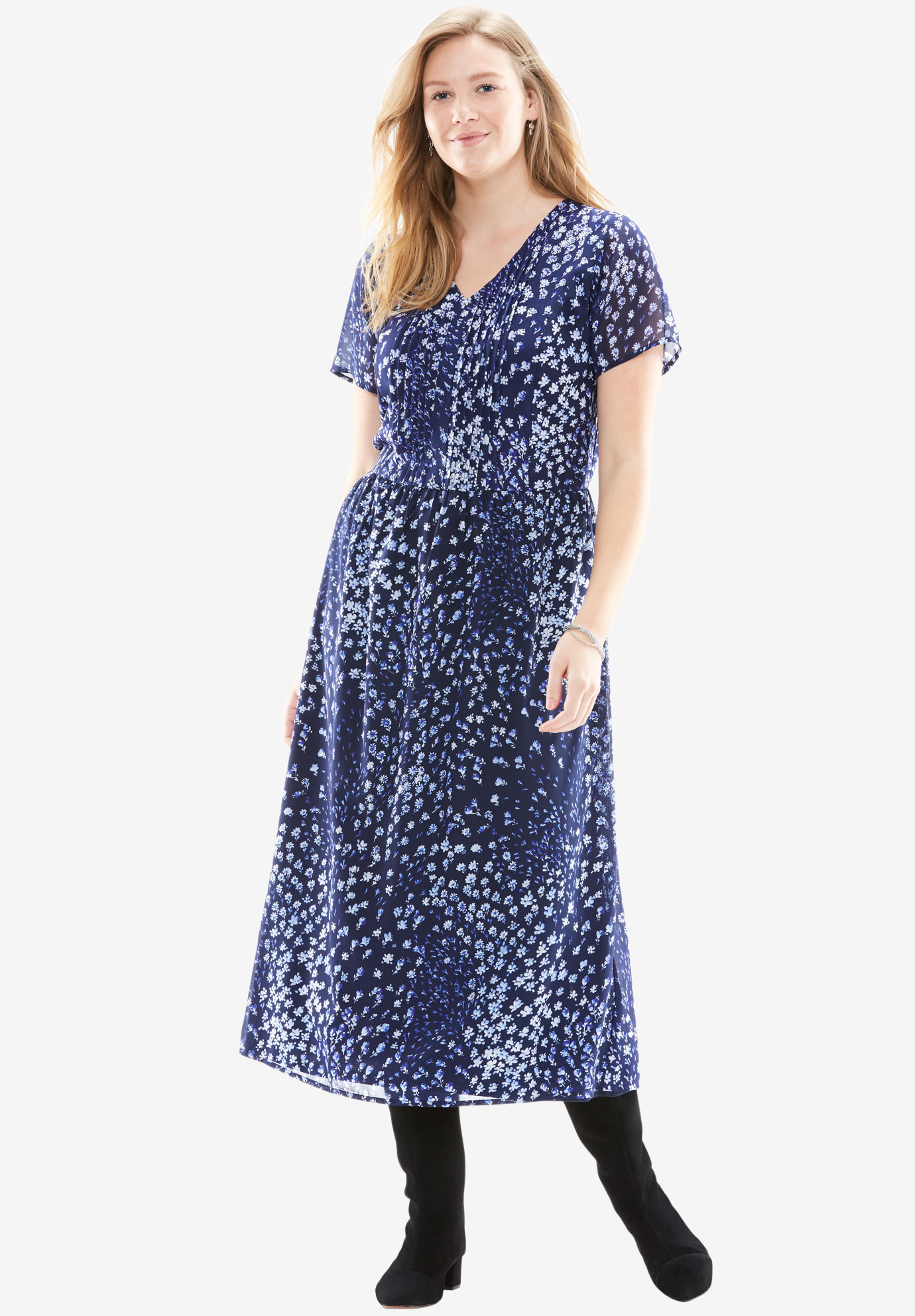 Long pintuck dress, NAVY FIREWORK FLORAL, hi-res